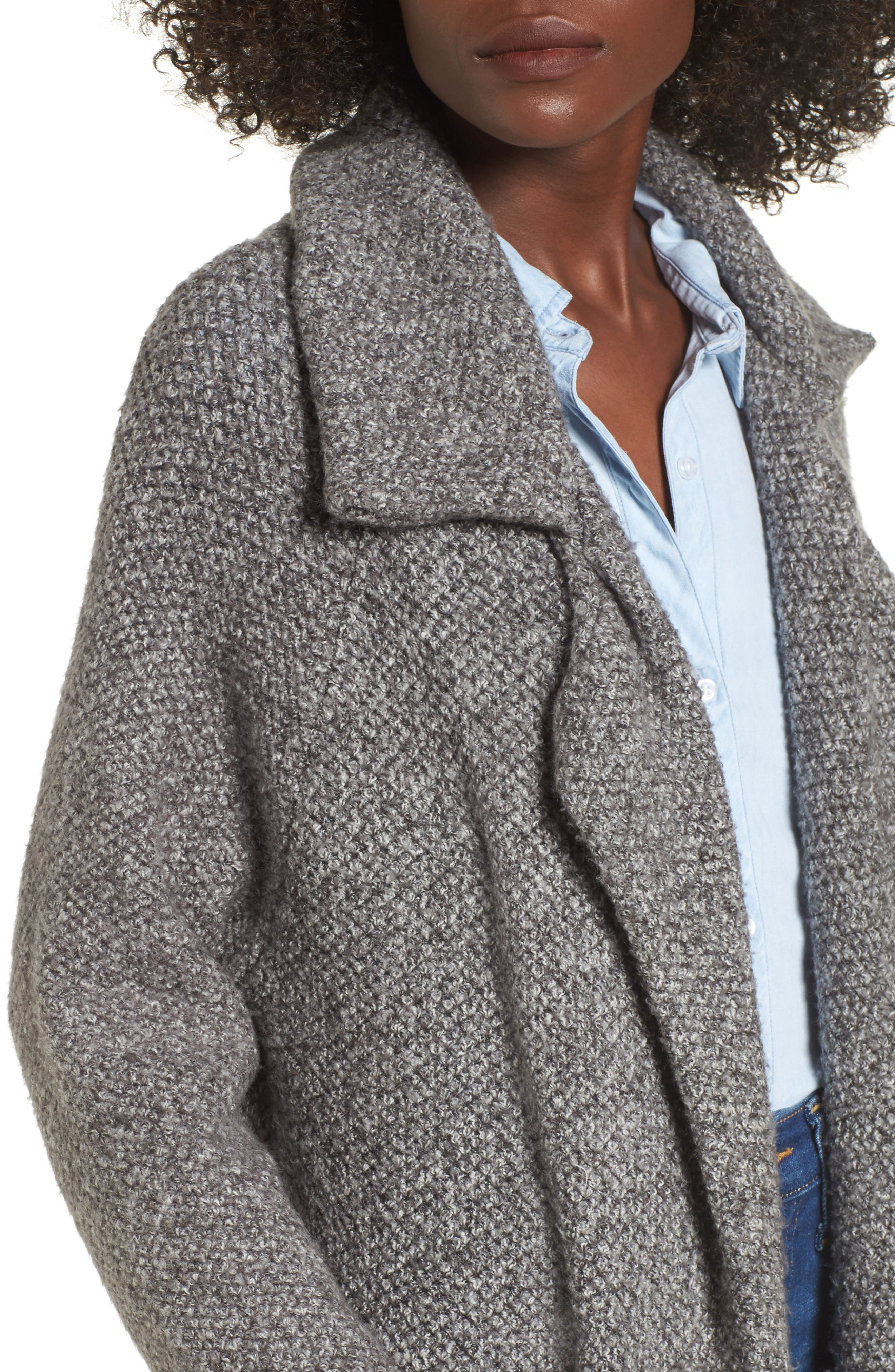 Kala Knit Sweater Jacket,                             Alternate thumbnail 4, color,                             Grey