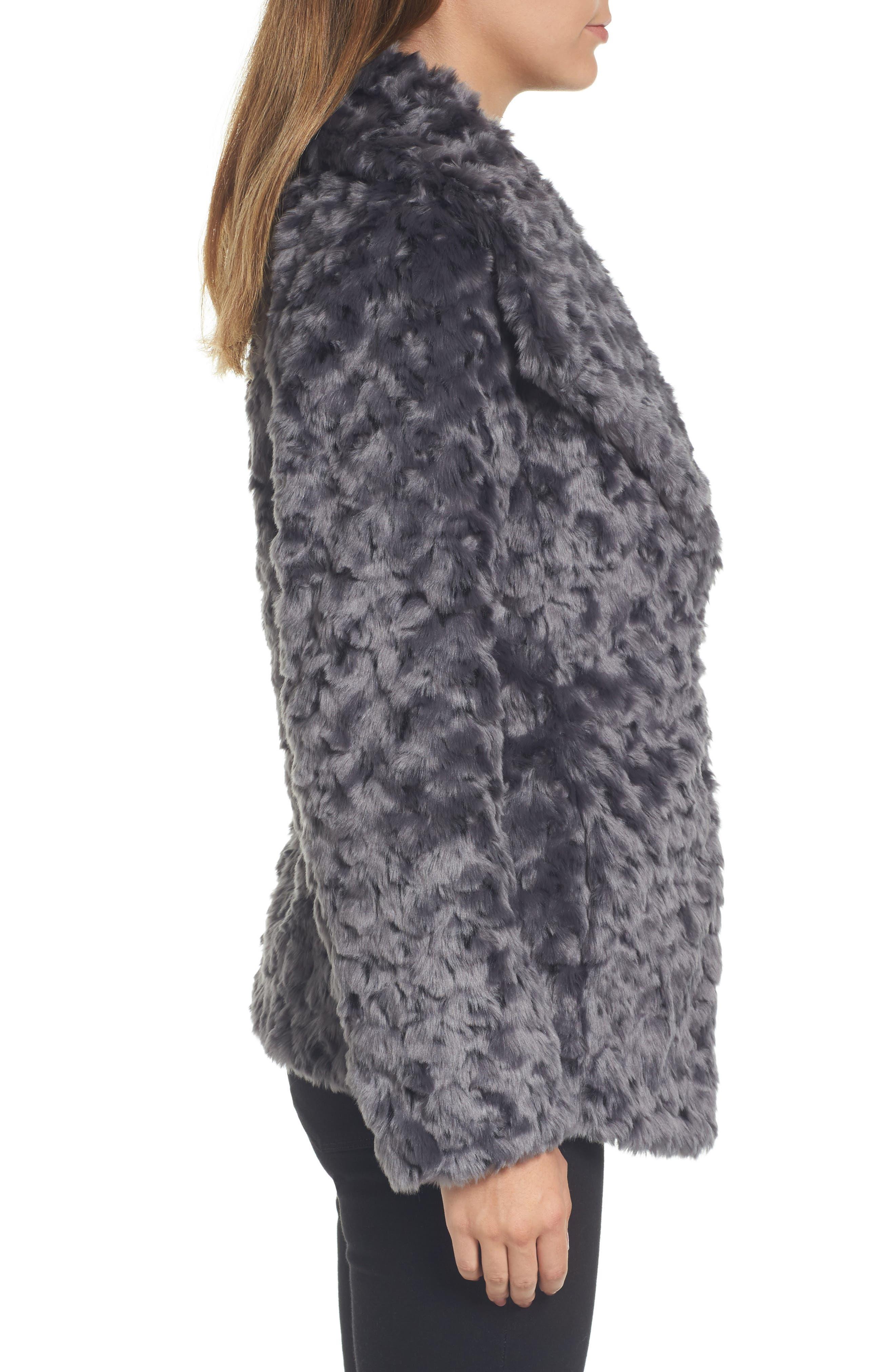 Roslyn Faux Fur Jacket,                             Alternate thumbnail 3, color,                             French Grey