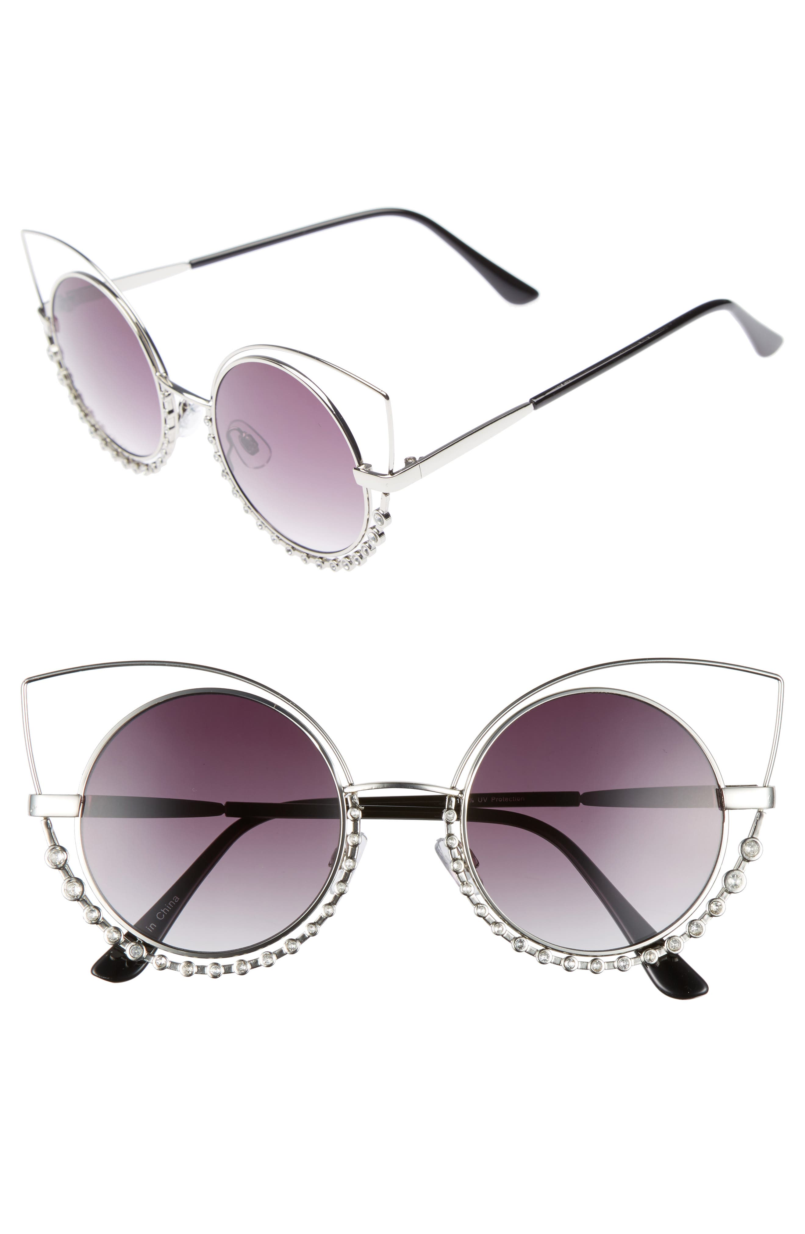 55mm Studded Round Sunglasses,                             Main thumbnail 1, color,                             Silver