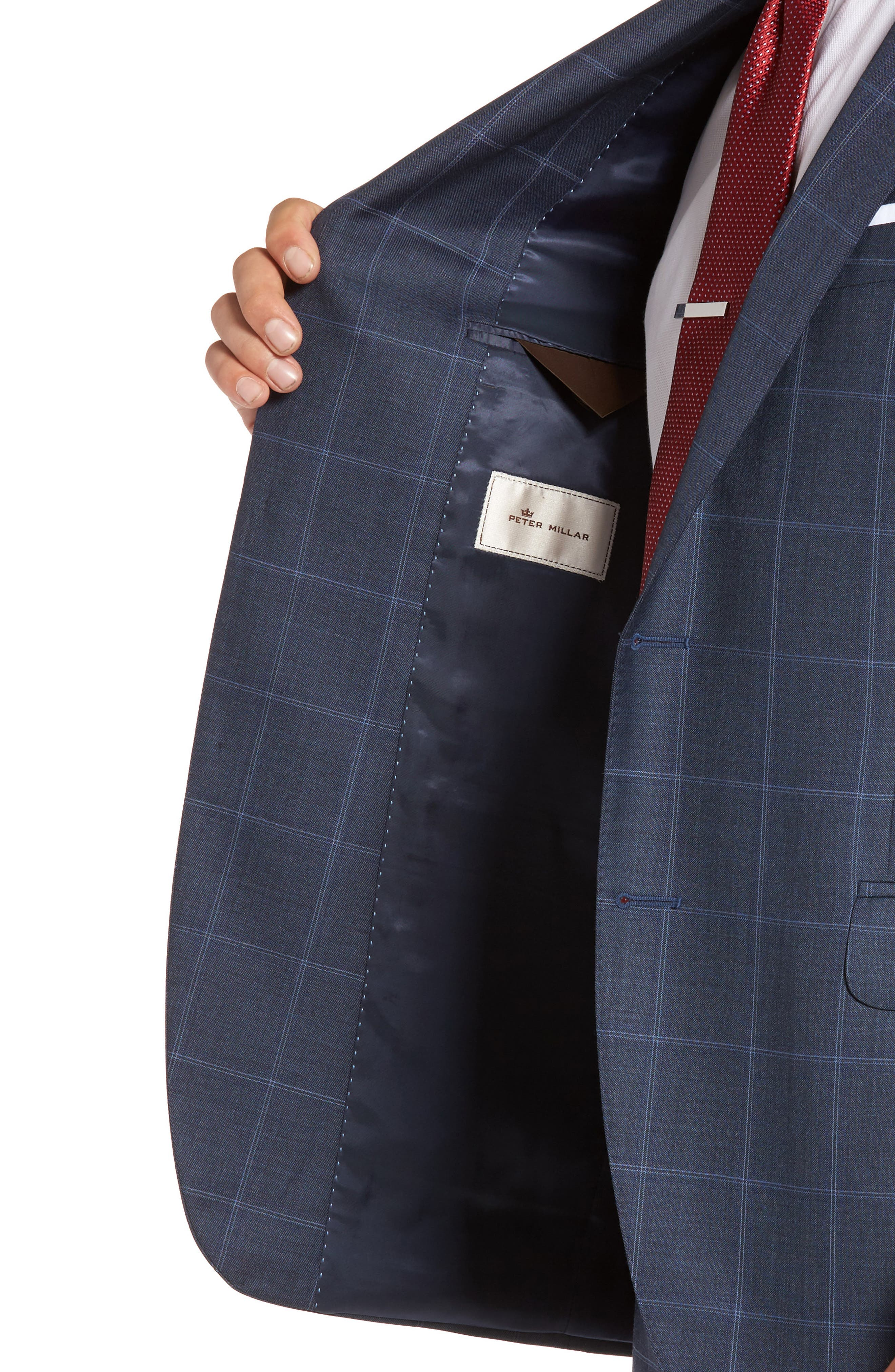 Flynn Classic Fit Windowpane Wool Suit,                             Alternate thumbnail 4, color,                             Blue