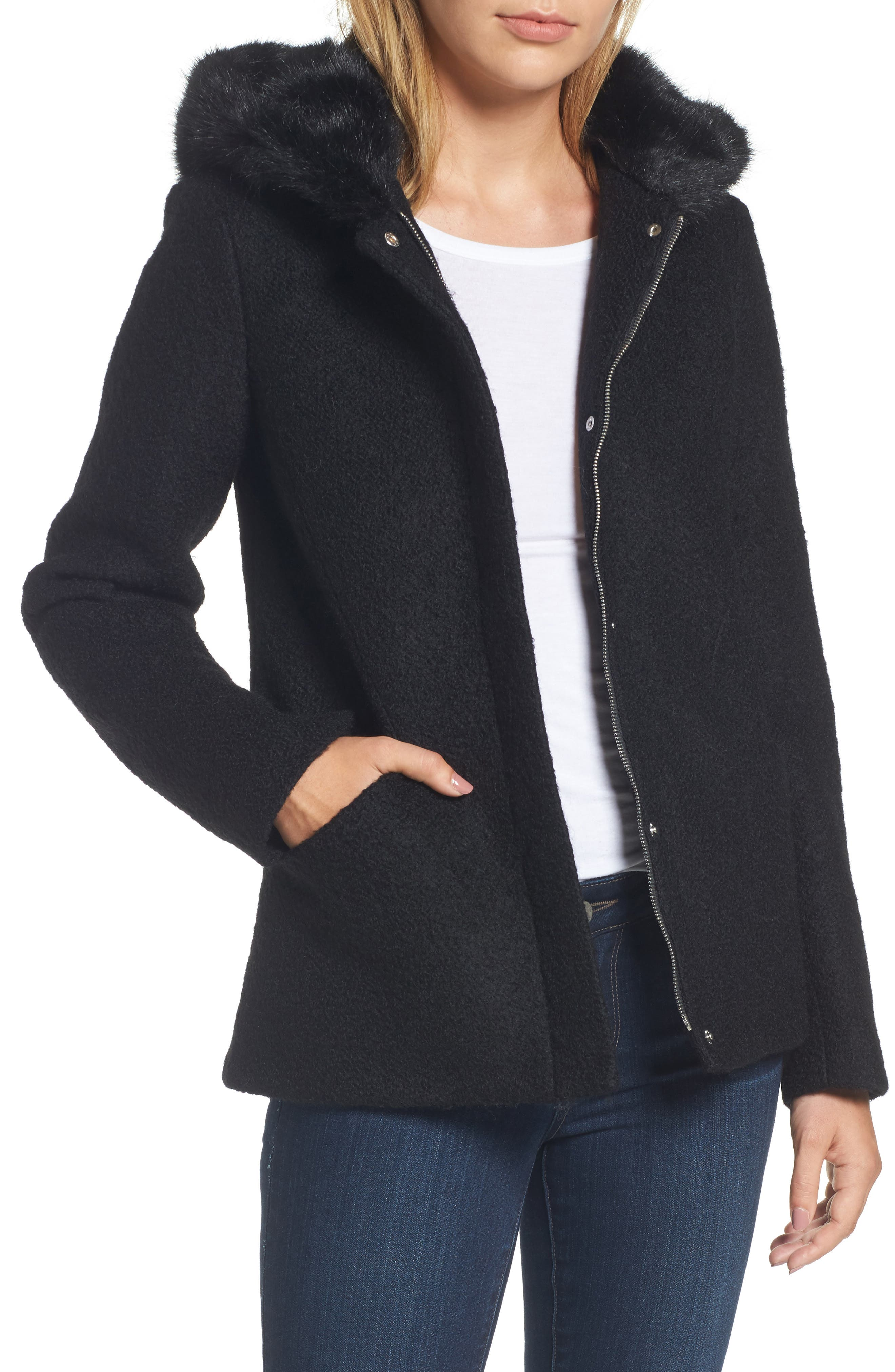 Alternate Image 1 Selected - Laundry by Shelli Segal Hooded Wool Blend Bouclé Jacket with Faux Fur Trim