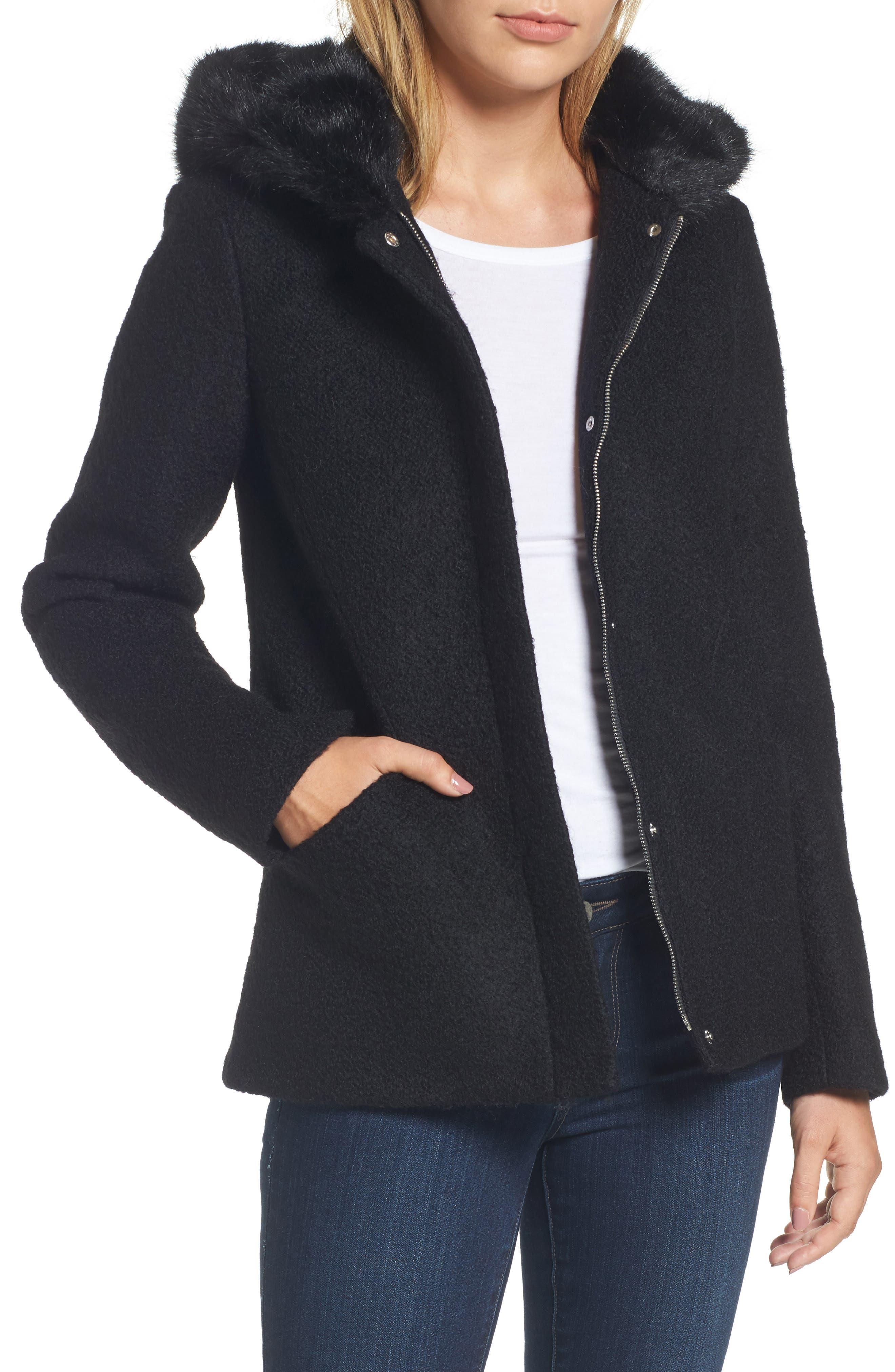 Hooded Wool Blend Bouclé Jacket with Faux Fur Trim,                         Main,                         color, Black