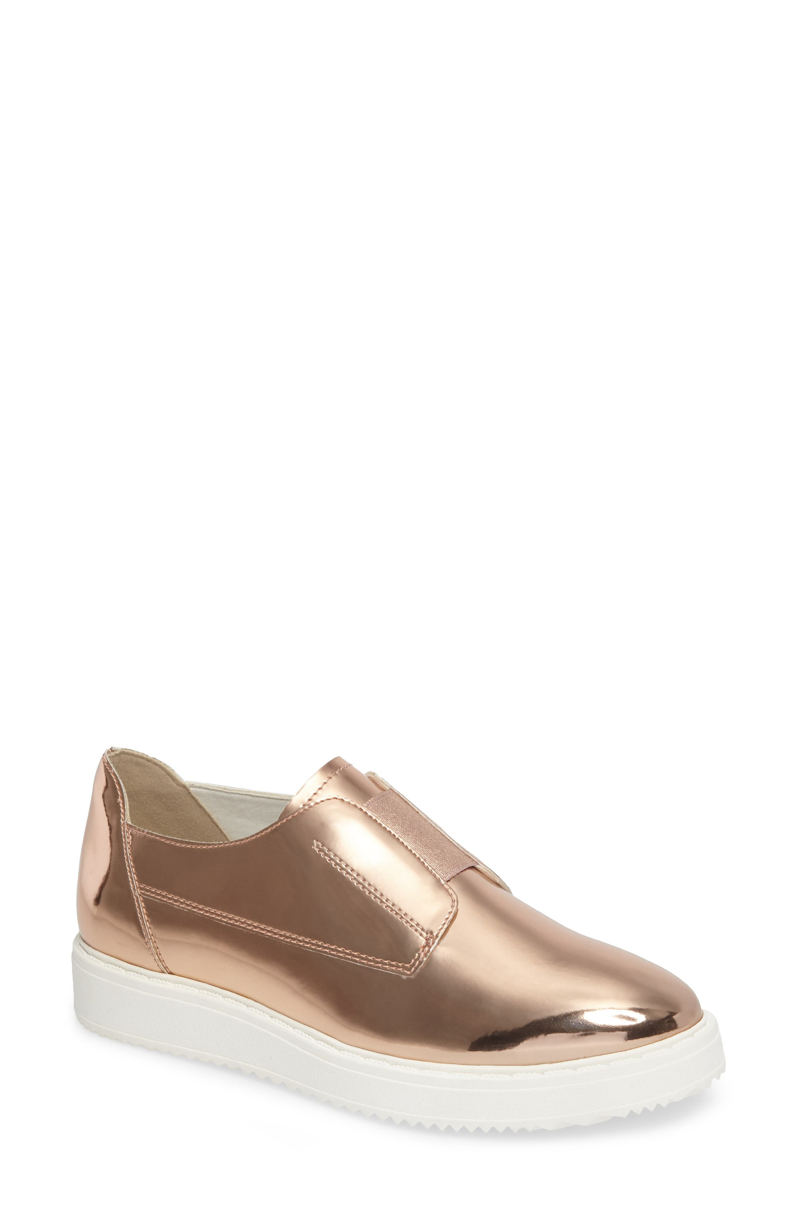 Trist Slip-On Metallic Sneaker,                             Main thumbnail 1, color,                             Rosegold Metallic Faux Leather