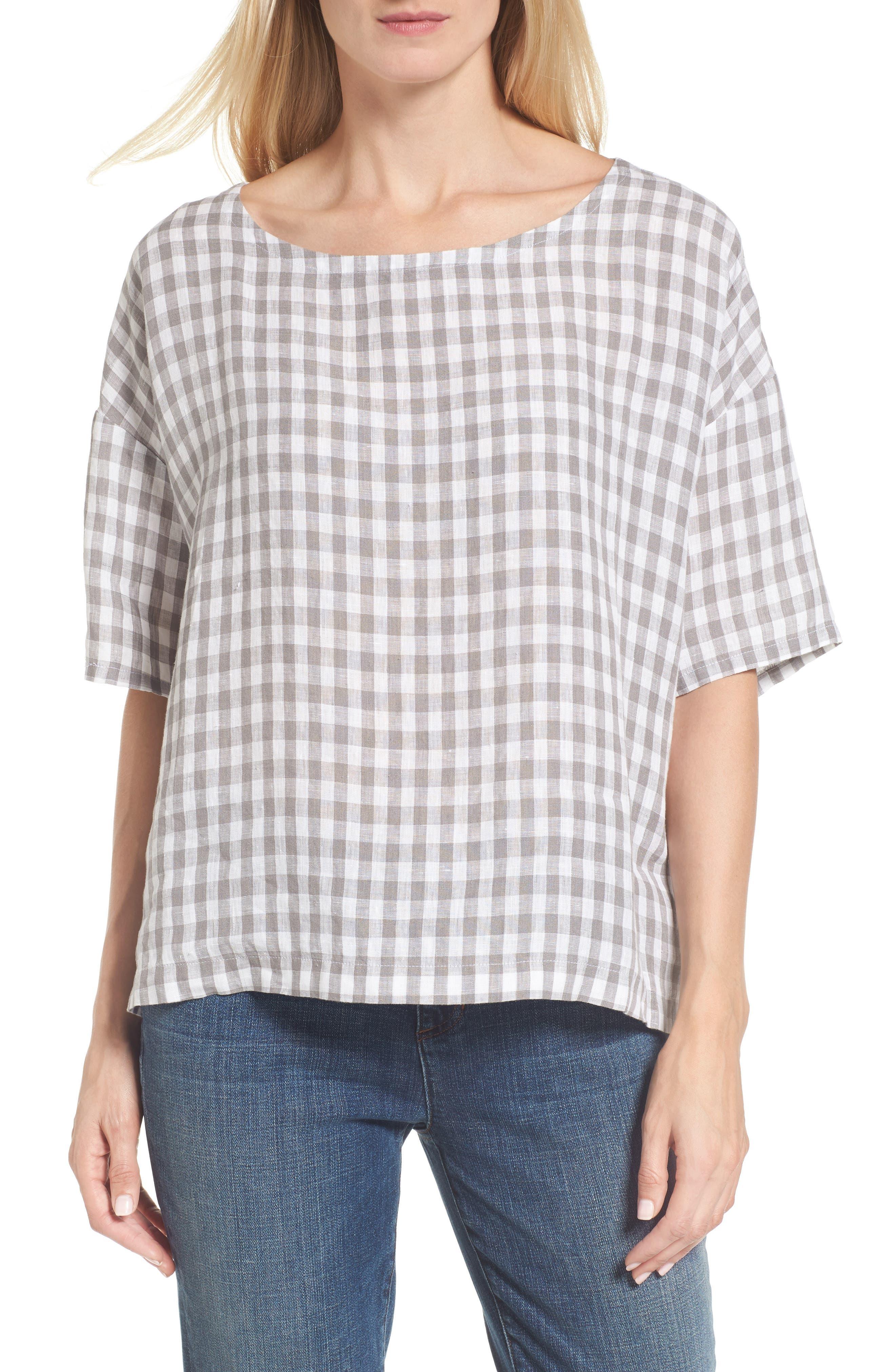 Main Image - Eileen Fisher Ballet Neck Box Organic Linen Sweater
