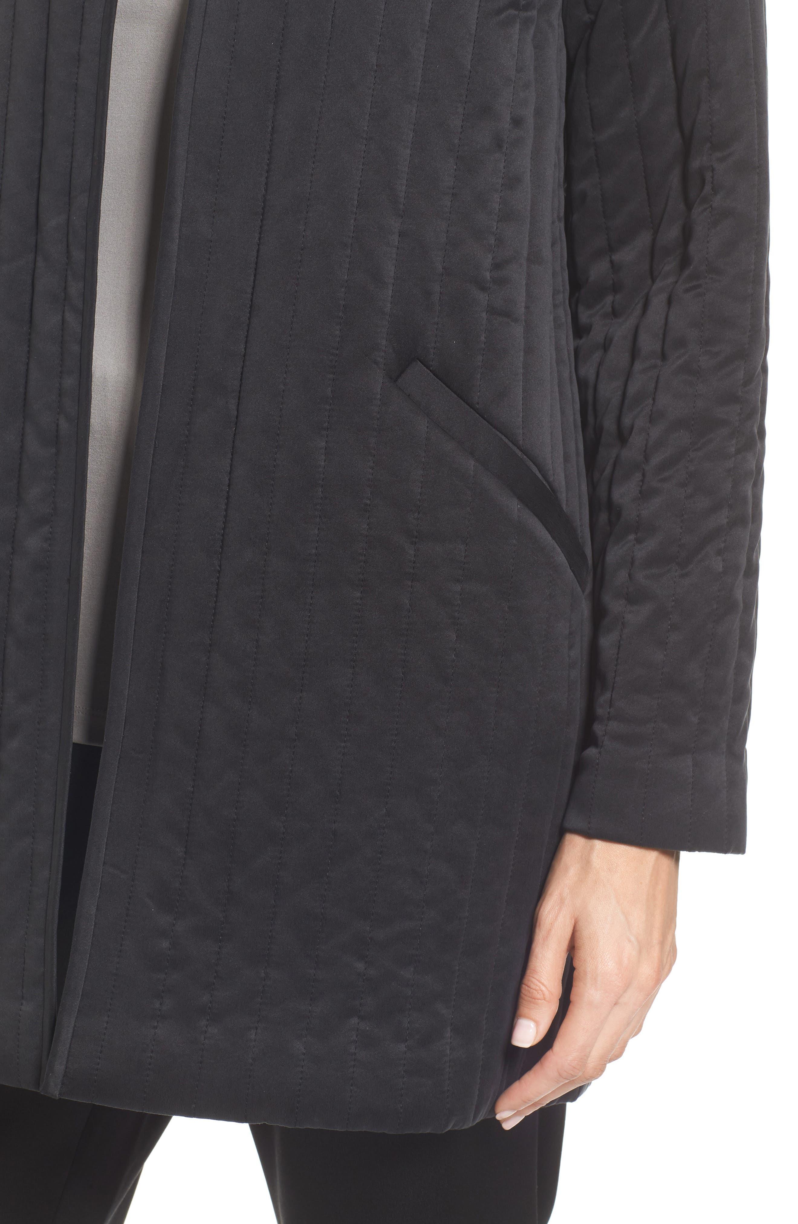 High Collar Silk Jacket,                             Alternate thumbnail 4, color,                             Black