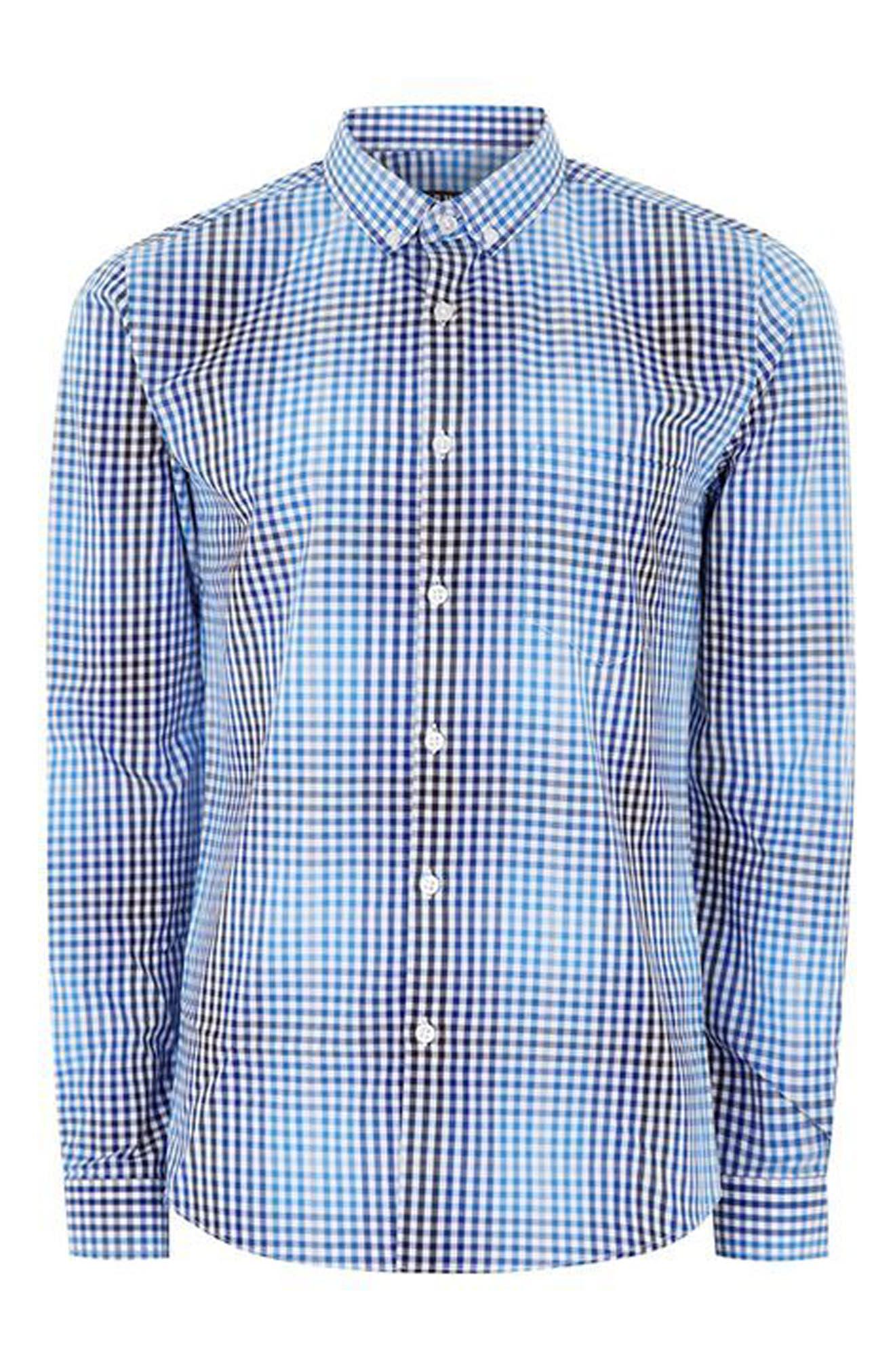 Alternate Image 4  - Topman Ombré Gingham Woven Shirt