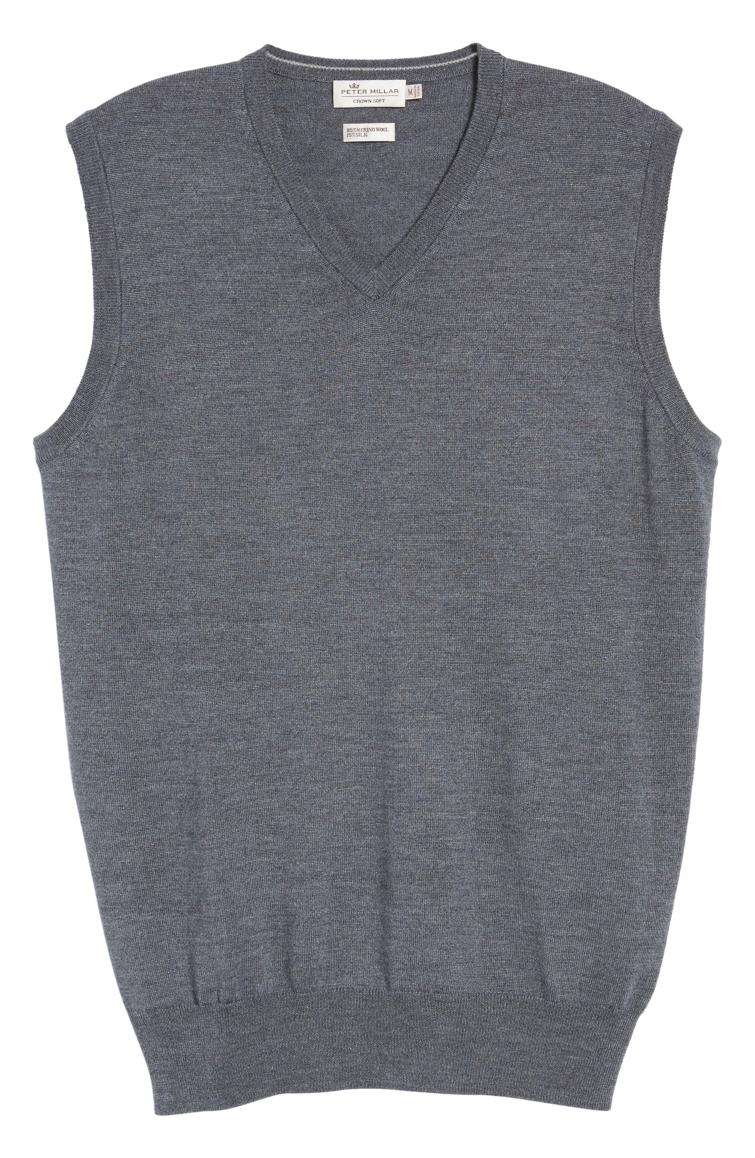 Crown Merino Blend Knit Vest,                             Alternate thumbnail 6, color,                             Charcoal