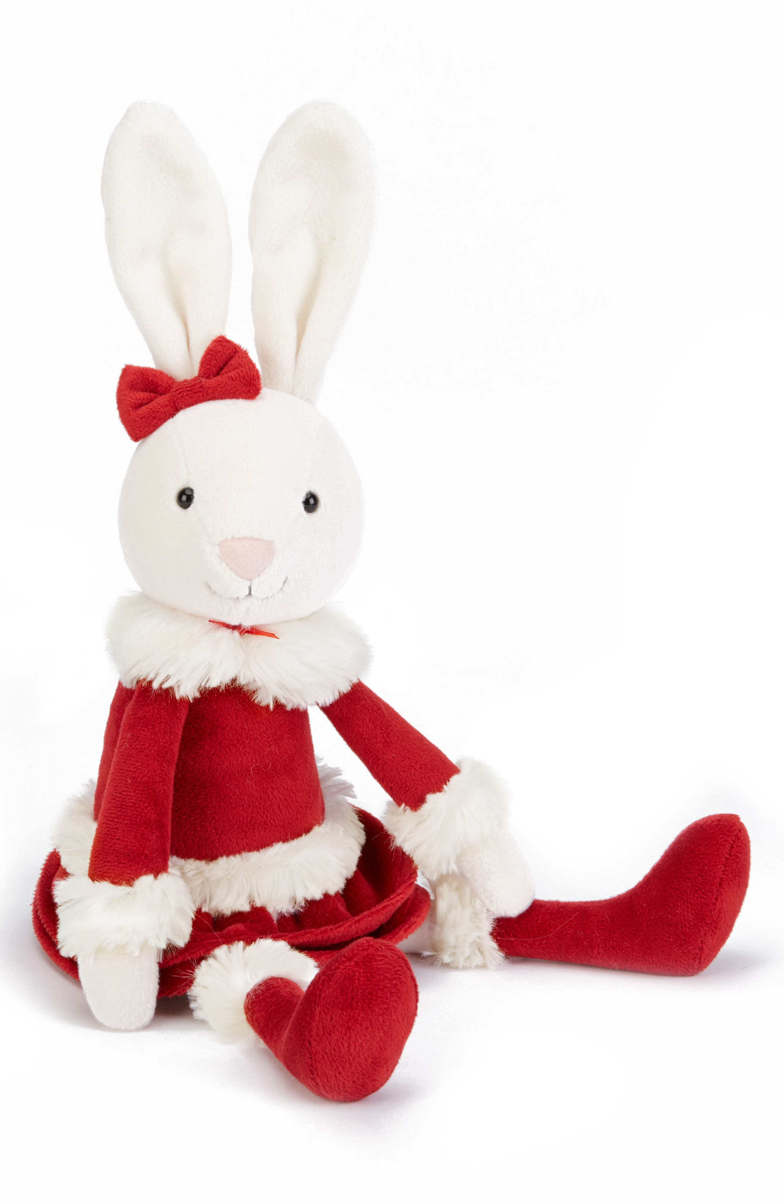 Christmas Bitsy Bunny Stuffed Animal,                         Main,                         color, Red
