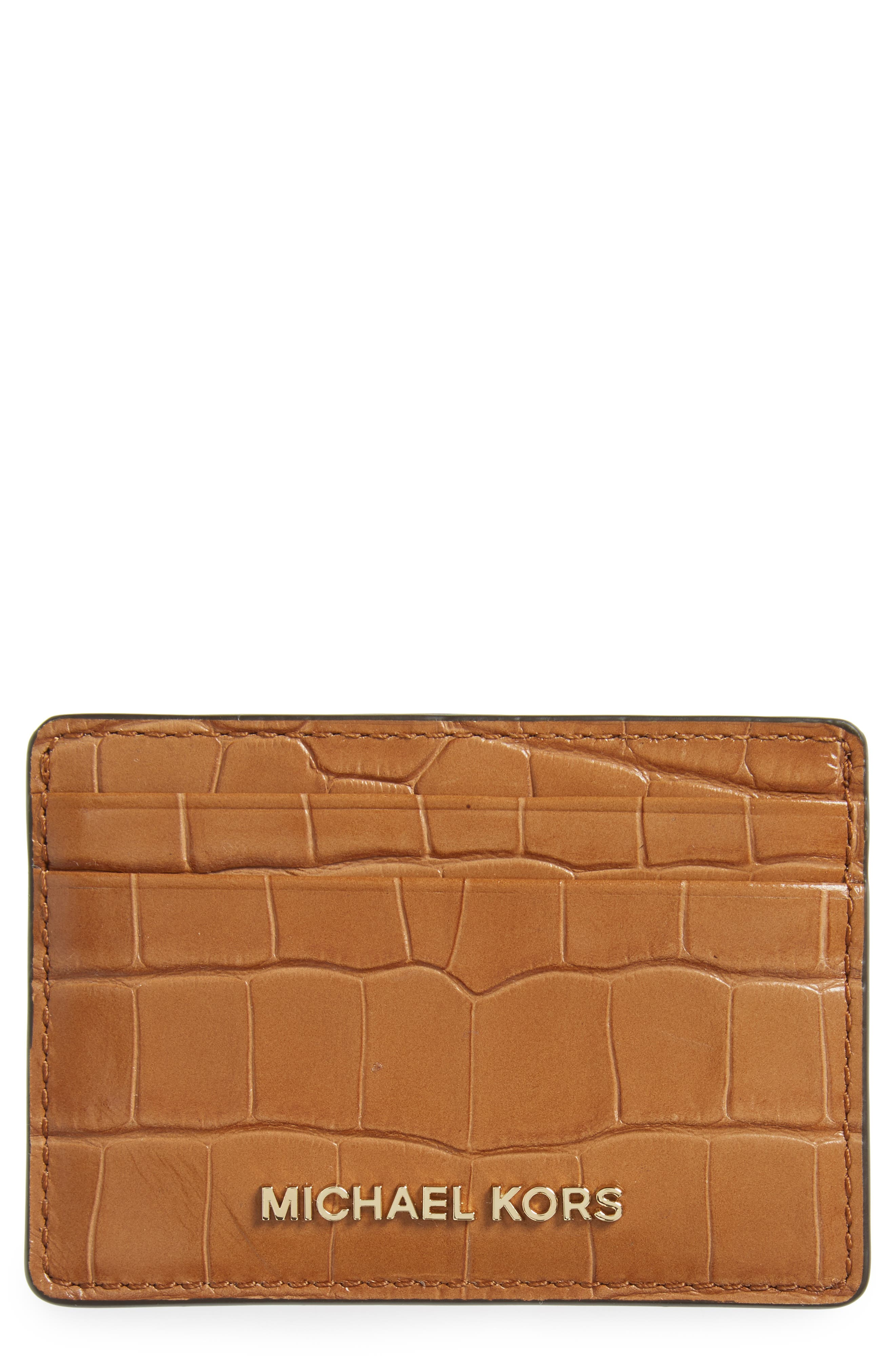 Alternate Image 1 Selected - MICHAEL Michael Kors Money Pieces Leather Card Case