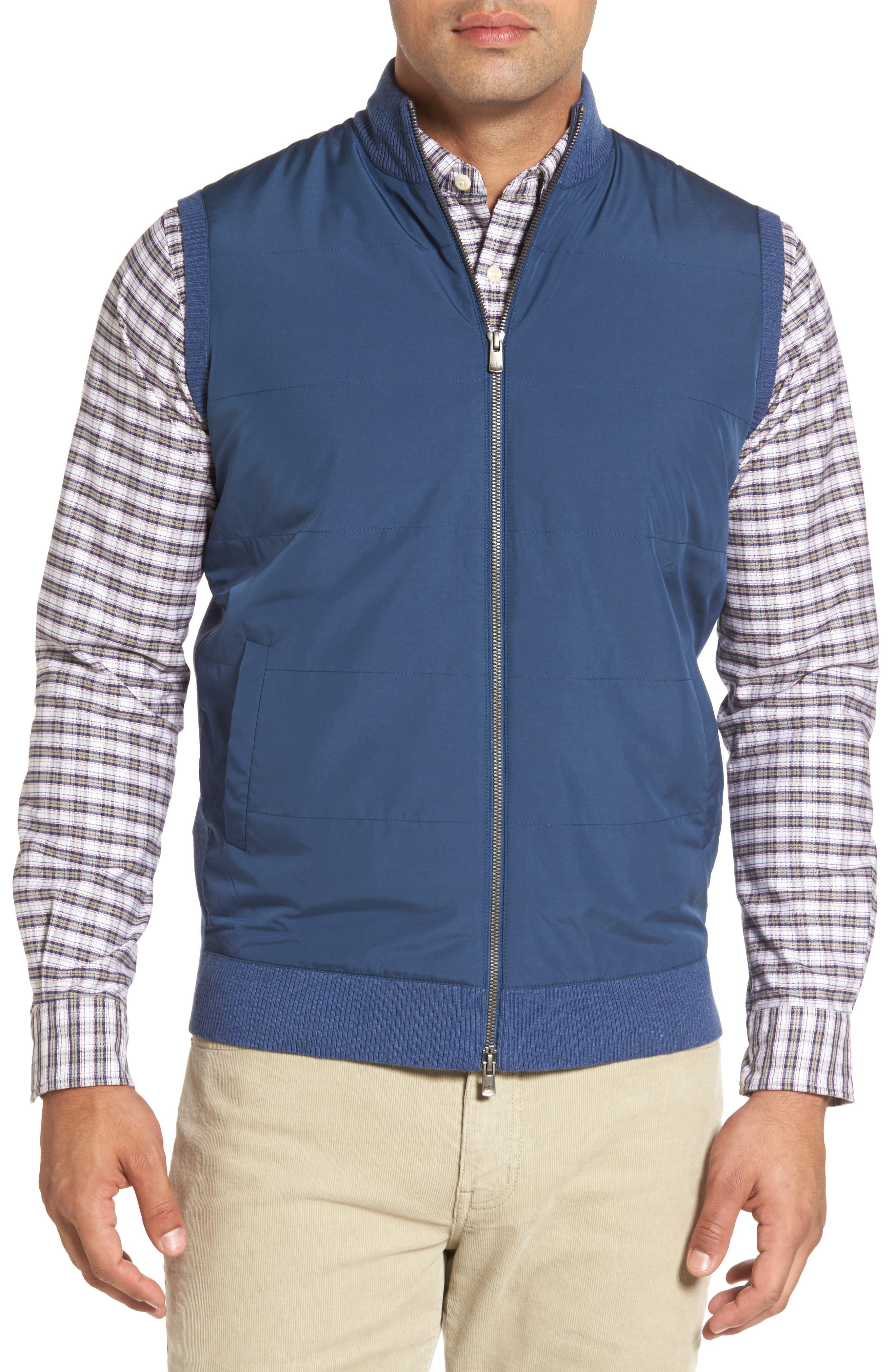 Peter Millar Lenoir Mixed Media Zip Front Vest