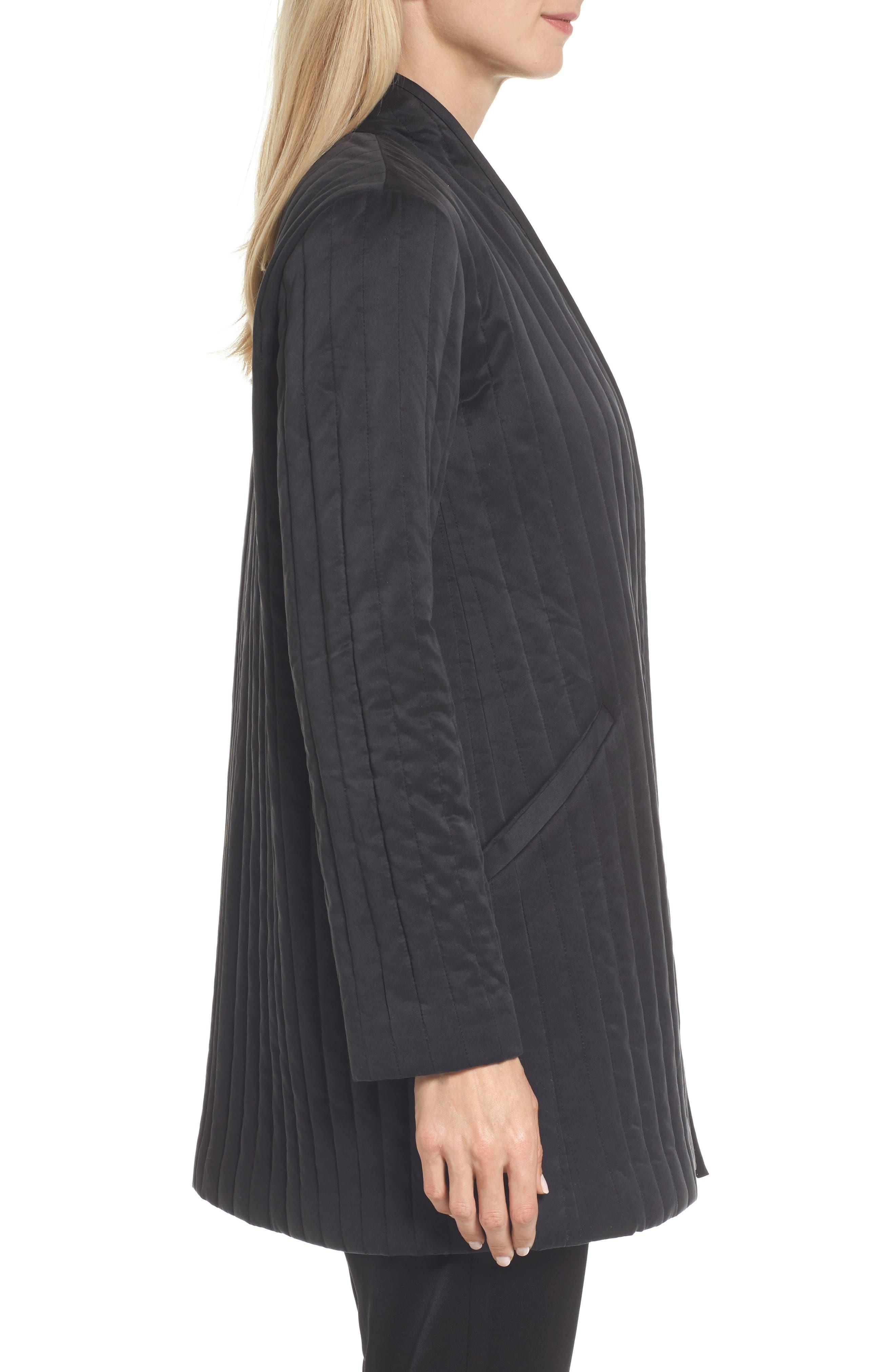 High Collar Silk Jacket,                             Alternate thumbnail 3, color,                             Black