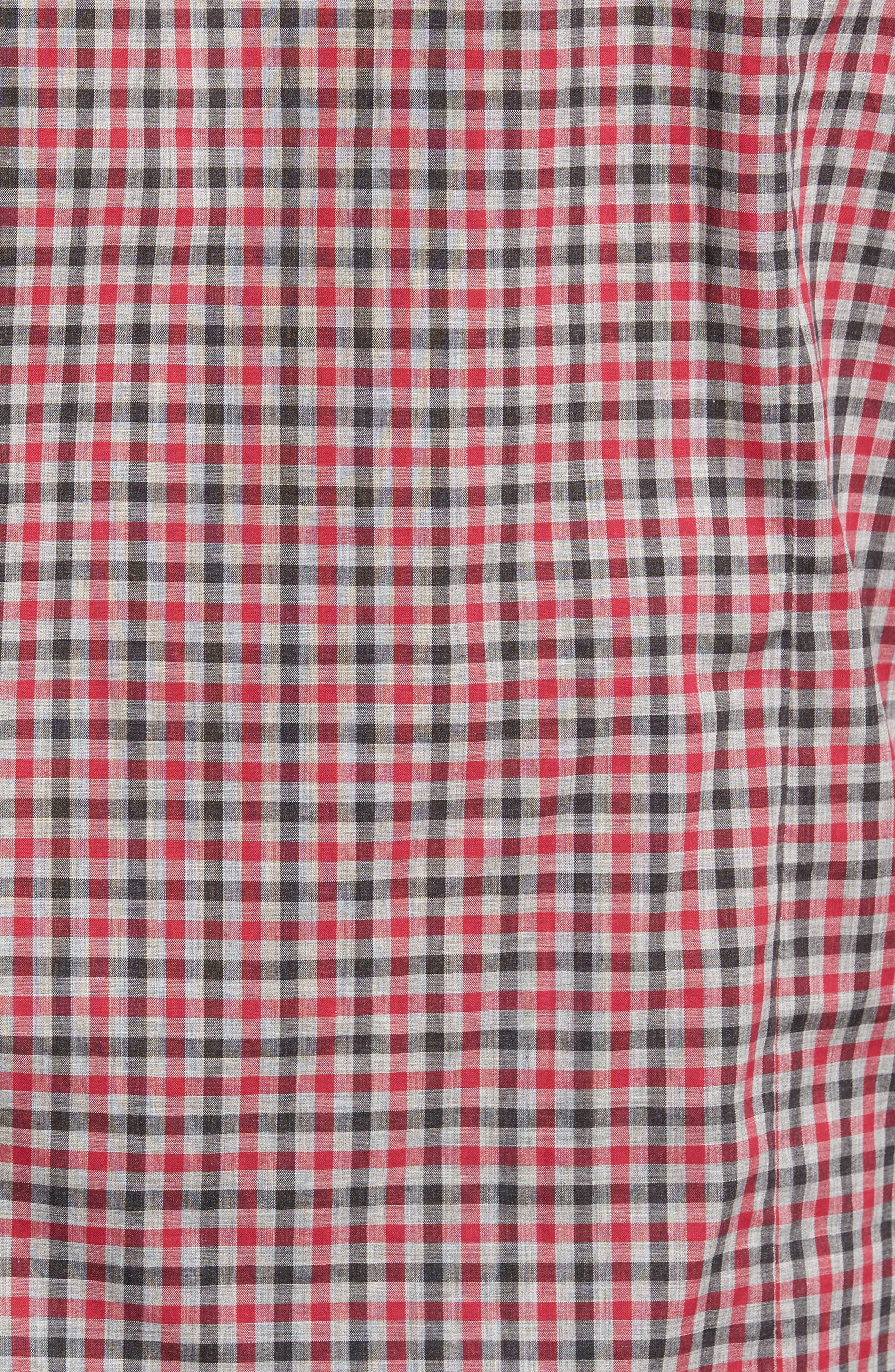 Slim Fit Check Sport Shirt,                             Alternate thumbnail 5, color,                             Medium Red