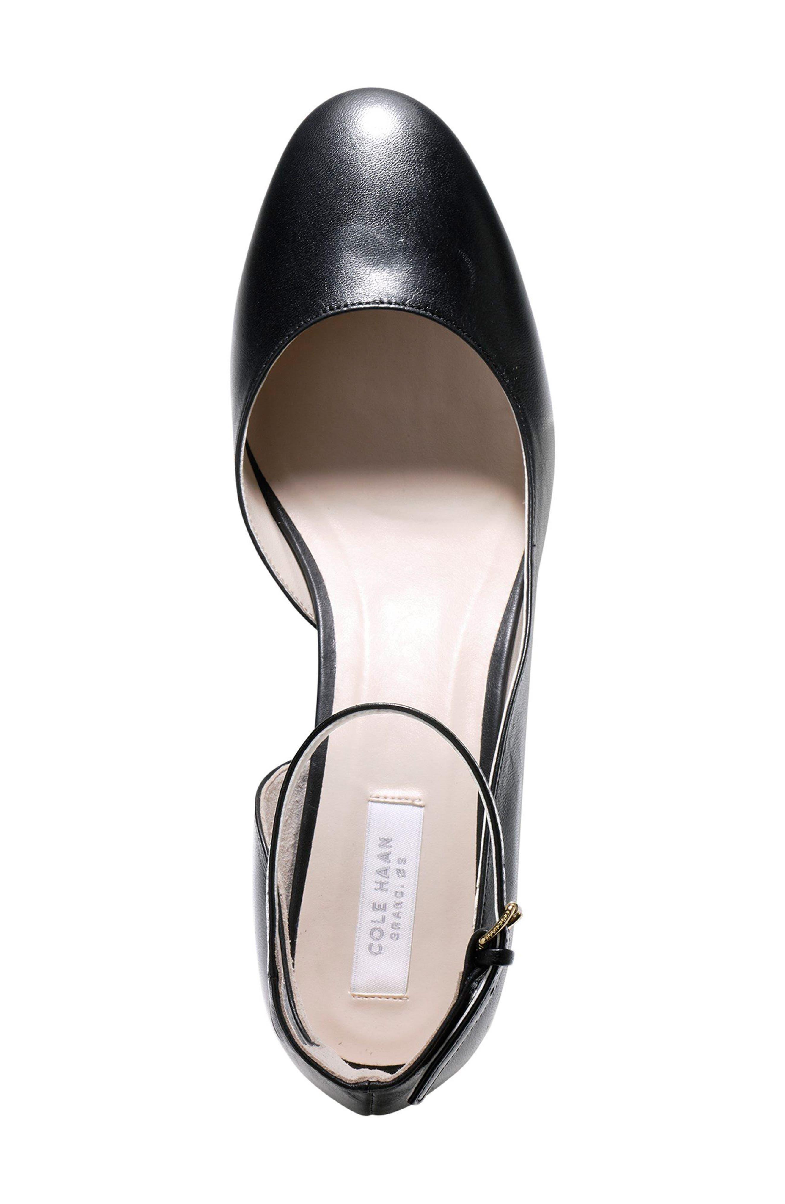 Warner Ankle Strap Pump,                             Alternate thumbnail 4, color,                             Black Leather