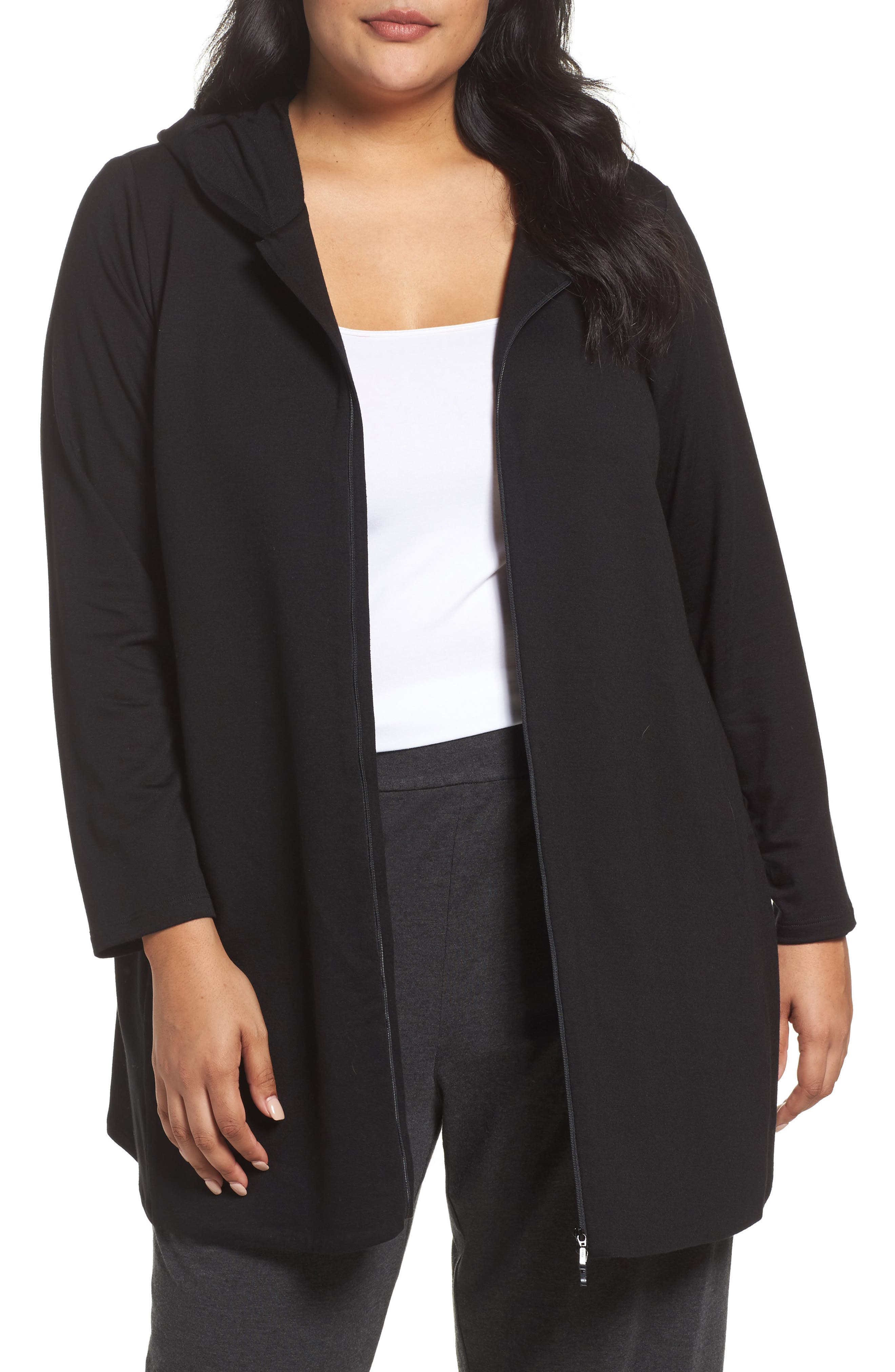 Eileen Fisher Stretch Hooded Jacket (Plus Size)