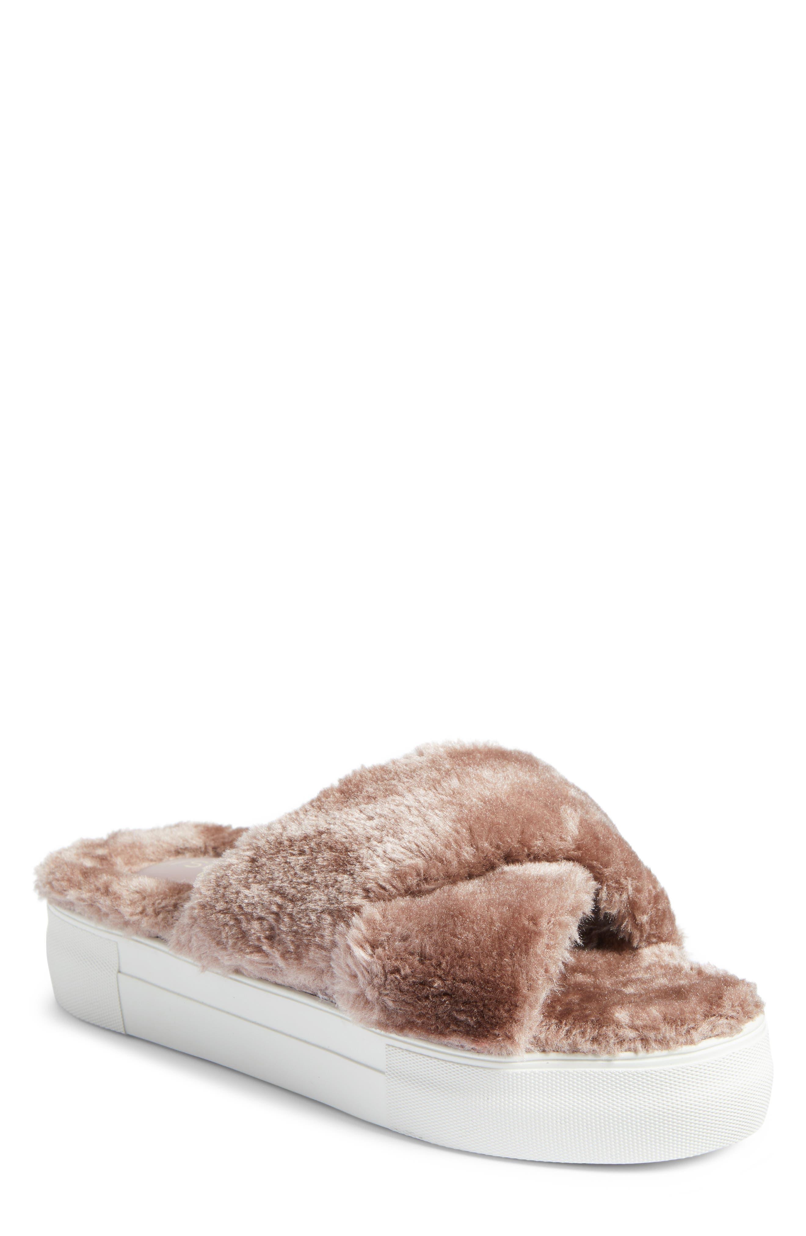 JSlides Adorablee Faux Fur Plaform Sandal (Women)