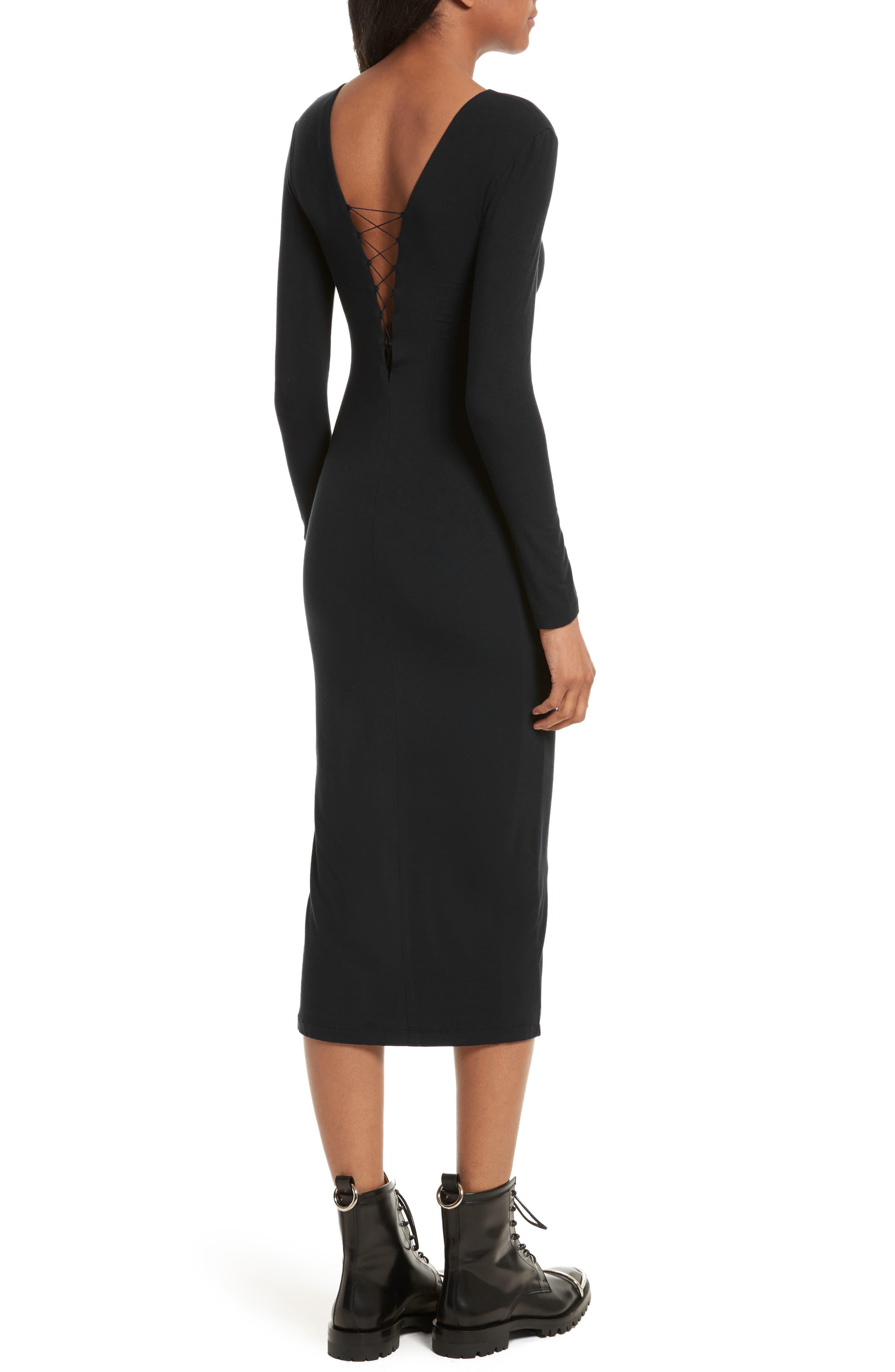 Alternate Image 2  - T by Alexander Wang Lace-Up Stretch Jersey Midi Dress