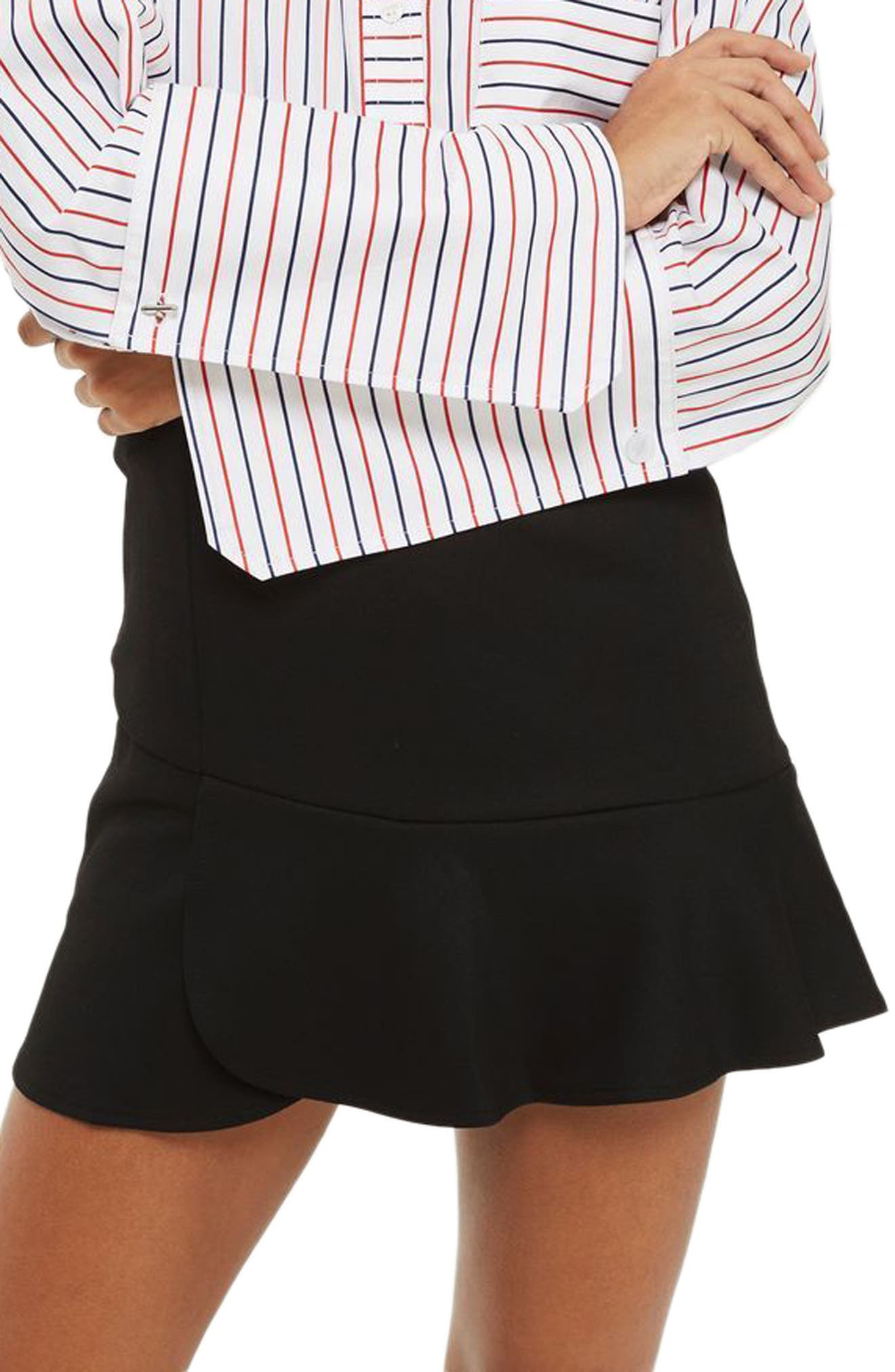 Paneled Flippy Miniskirt,                             Main thumbnail 1, color,                             Black