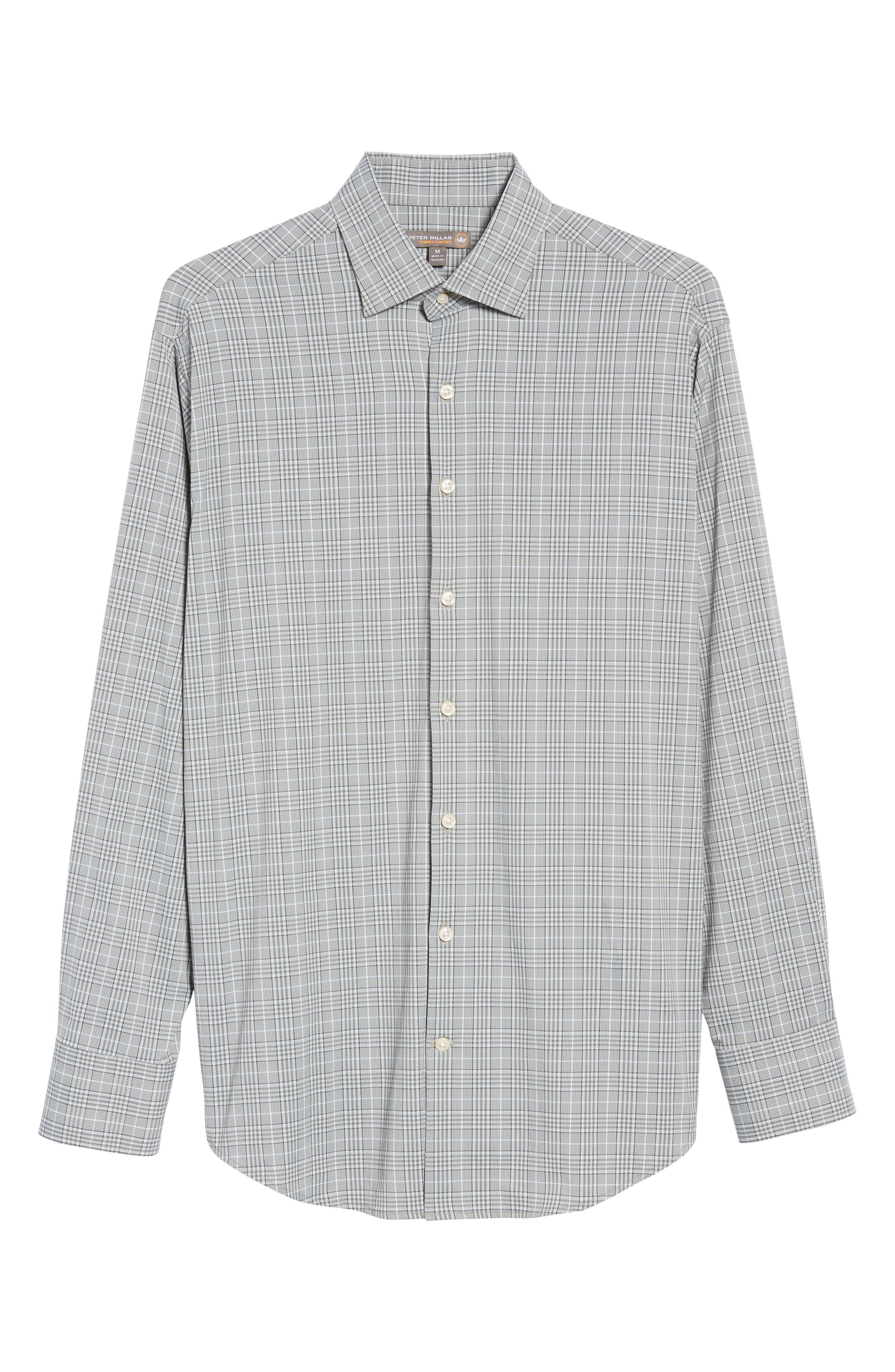 Vedder Gingham Regular Fit Performance Sport Shirt,                             Alternate thumbnail 6, color,                             Smoke