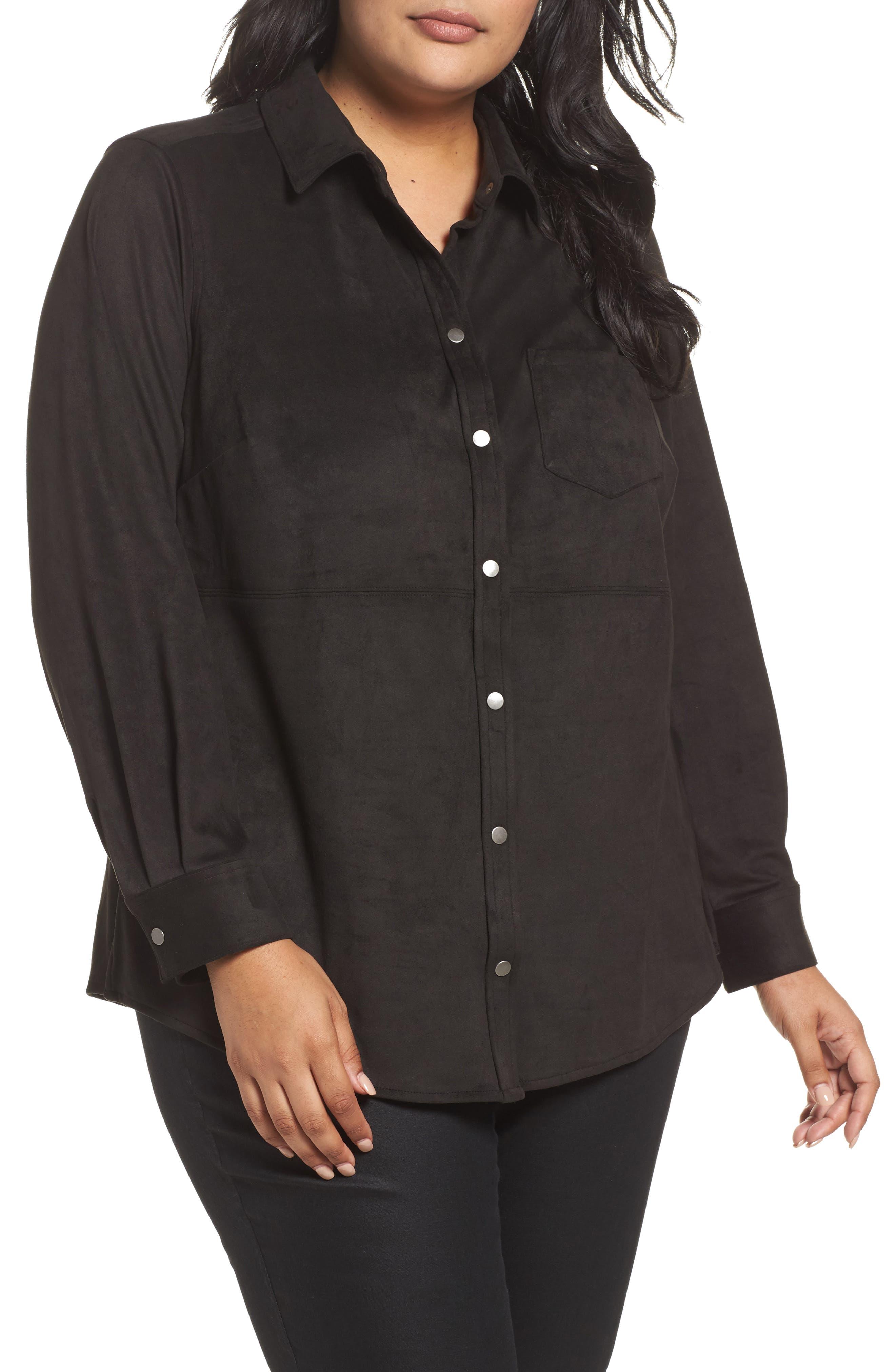 Main Image - Foxcroft Jena Faux Suede Shirt (Plus Size)