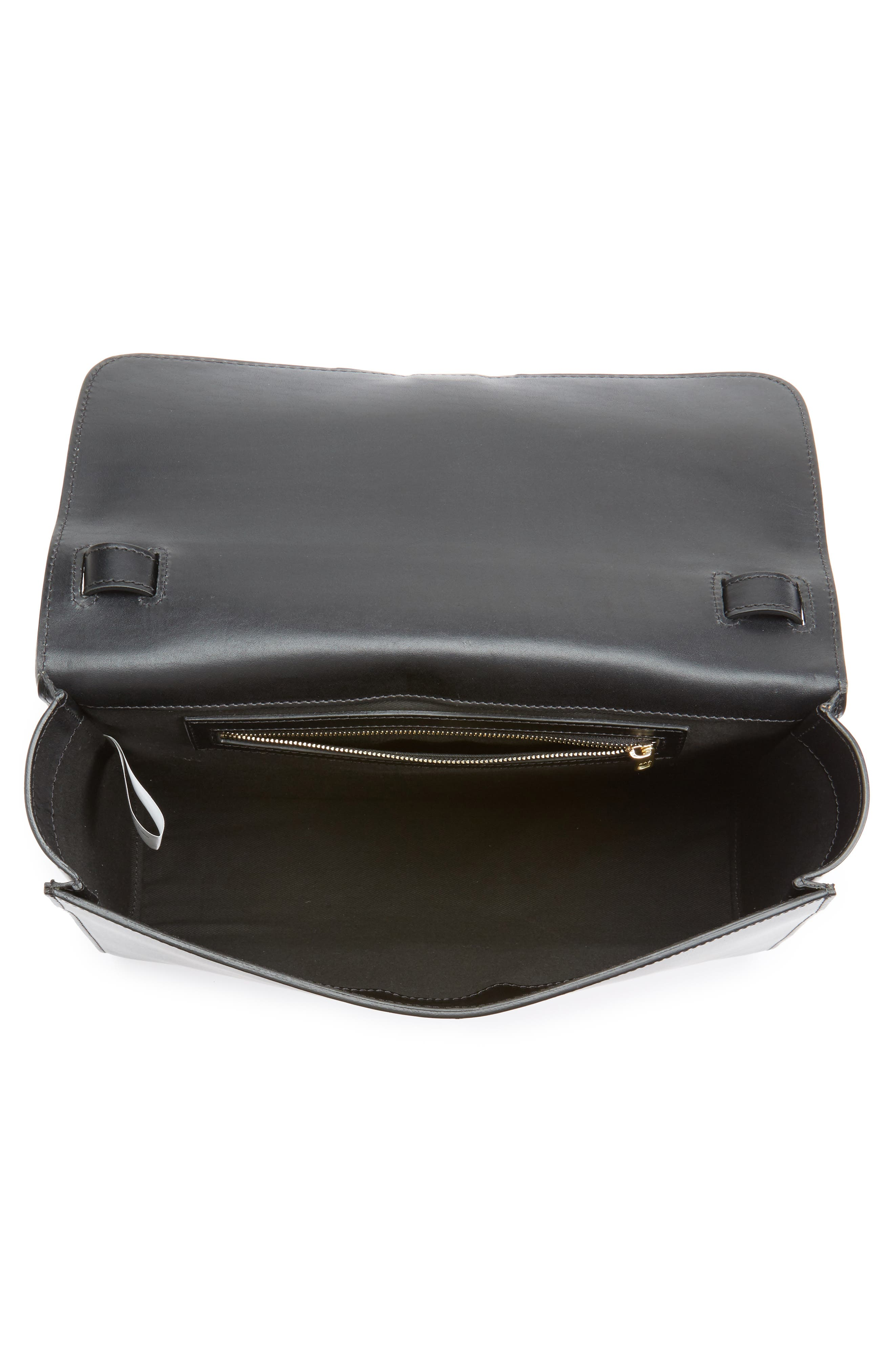 Katy Calfskin Leather Messenger Bag,                             Alternate thumbnail 3, color,                             Noir