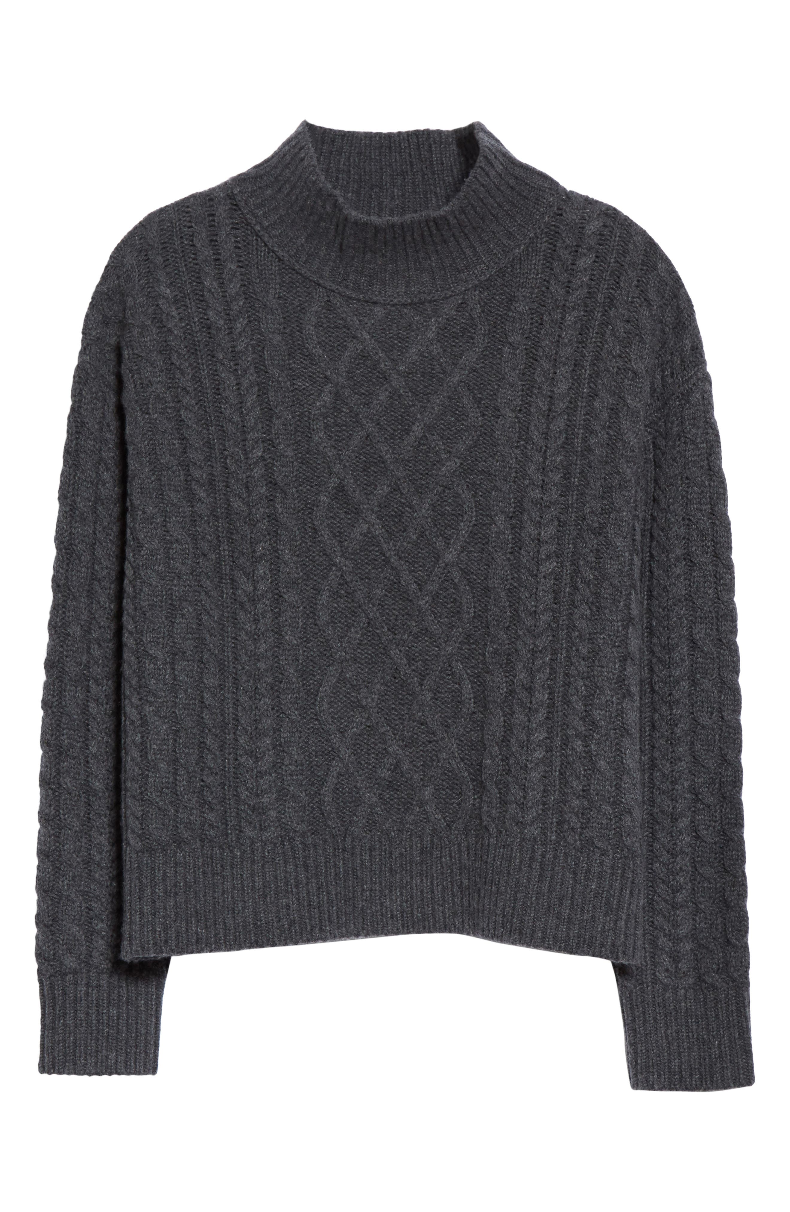 Wool & Cashmere Cable Knit Crop Sweater,                             Alternate thumbnail 7, color,                             Charcoal