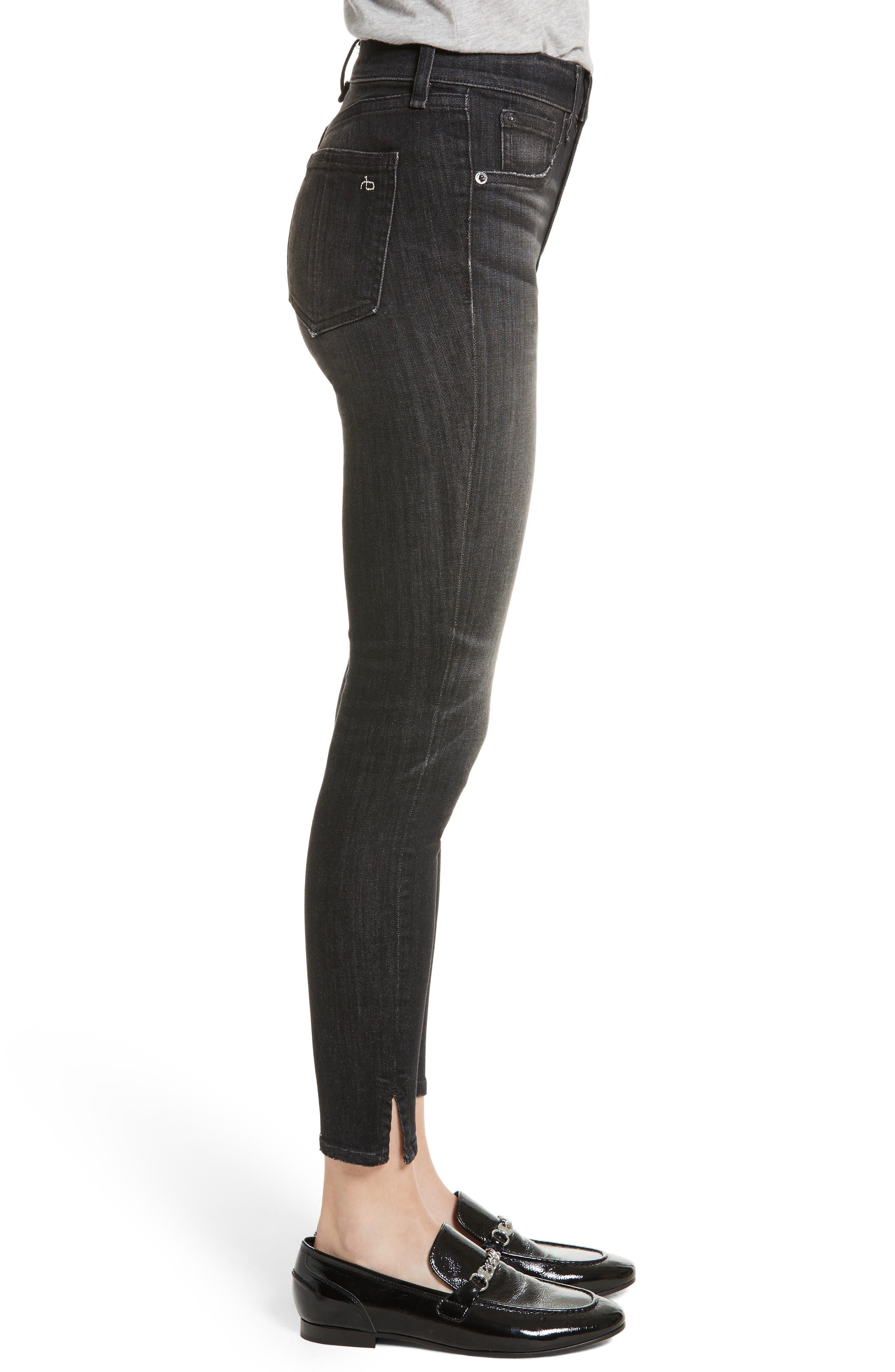 High Waist Ankle Skinny Jeans,                             Alternate thumbnail 3, color,                             Black Lock