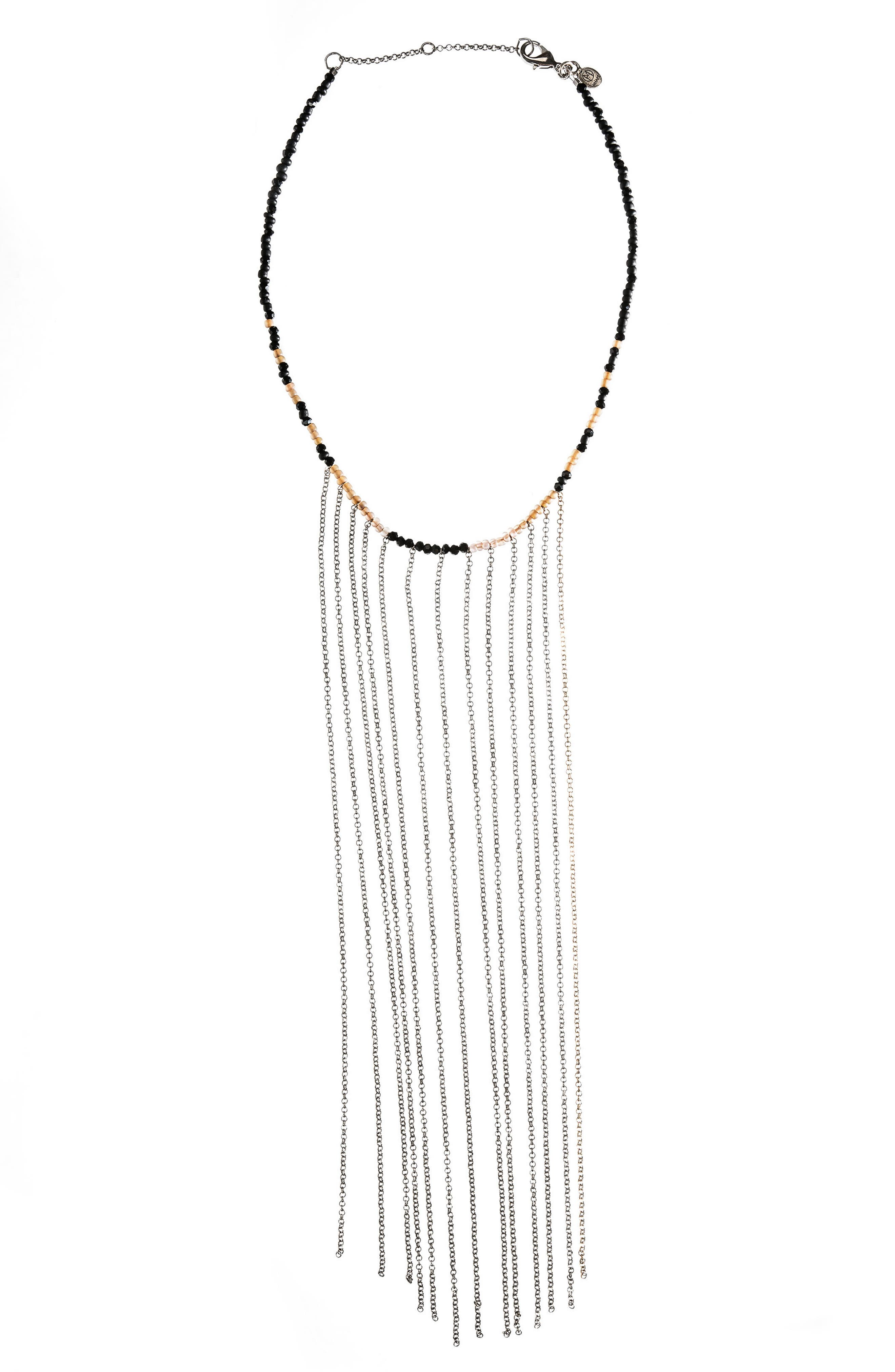 Beaded Fringe Choker,                         Main,                         color, Silver
