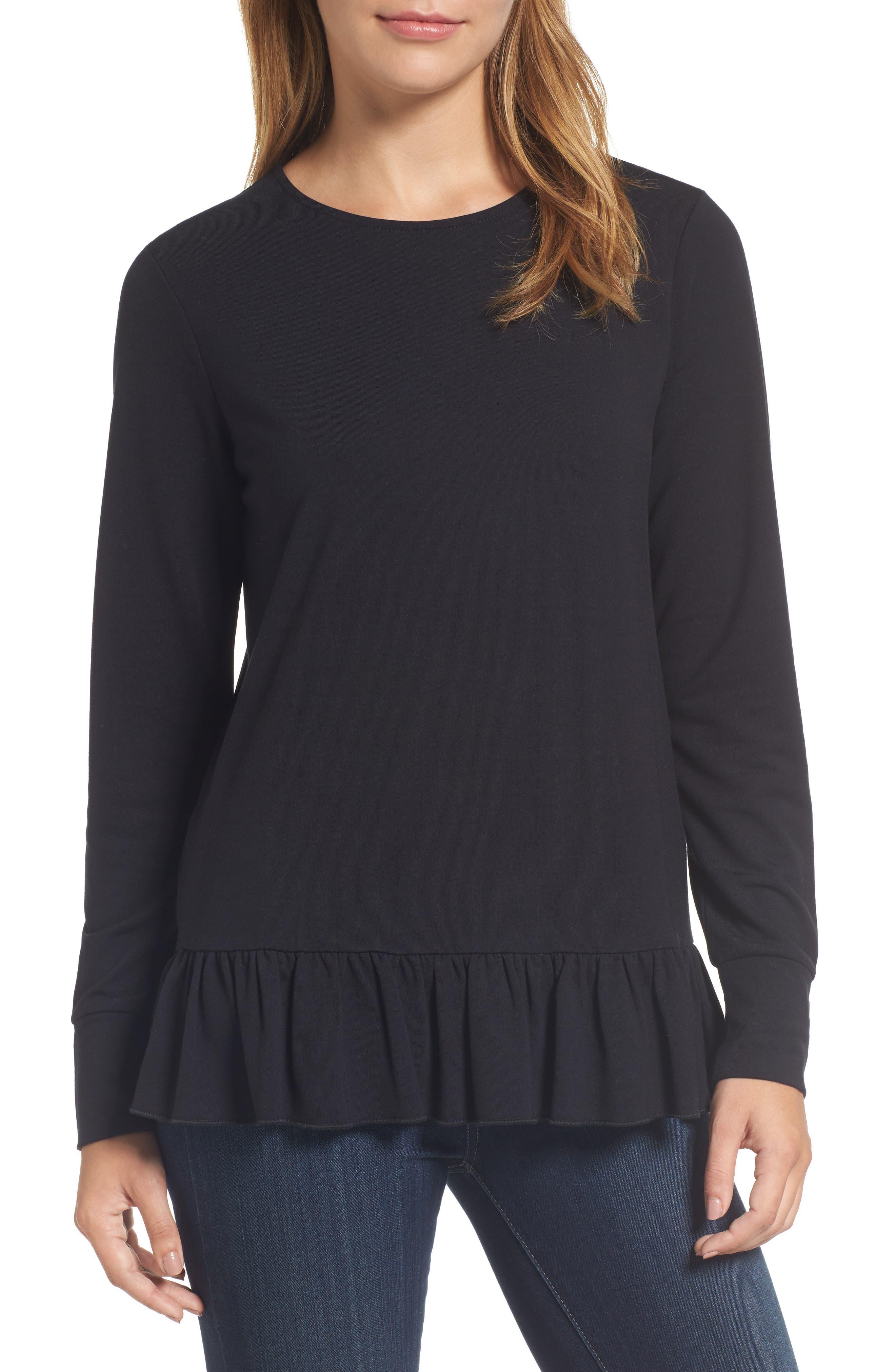 Main Image - Halogen® Ruffle Hem Sweatshirt (Regular & Petite)