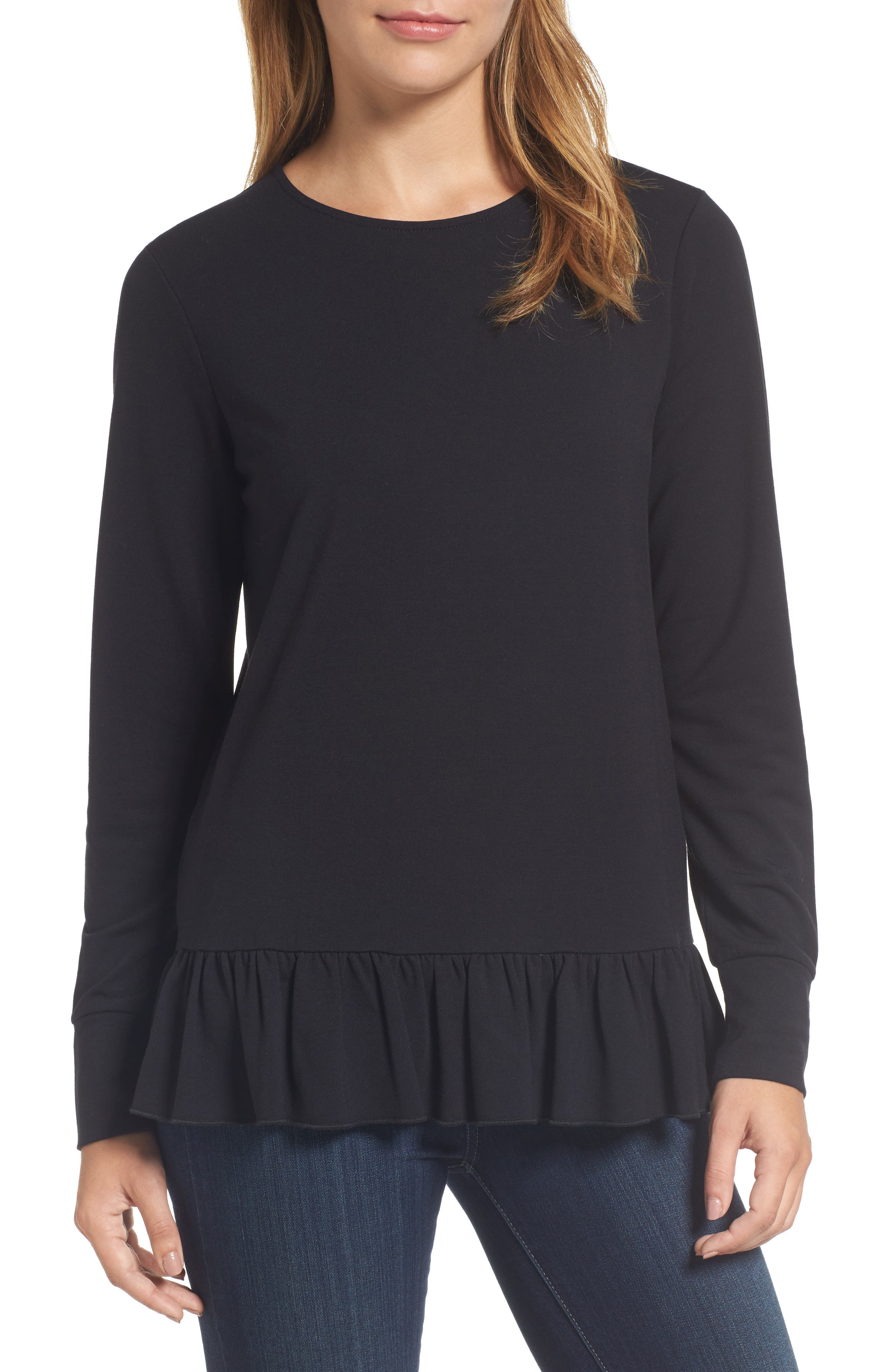 Halogen® Ruffle Hem Sweatshirt (Regular & Petite)