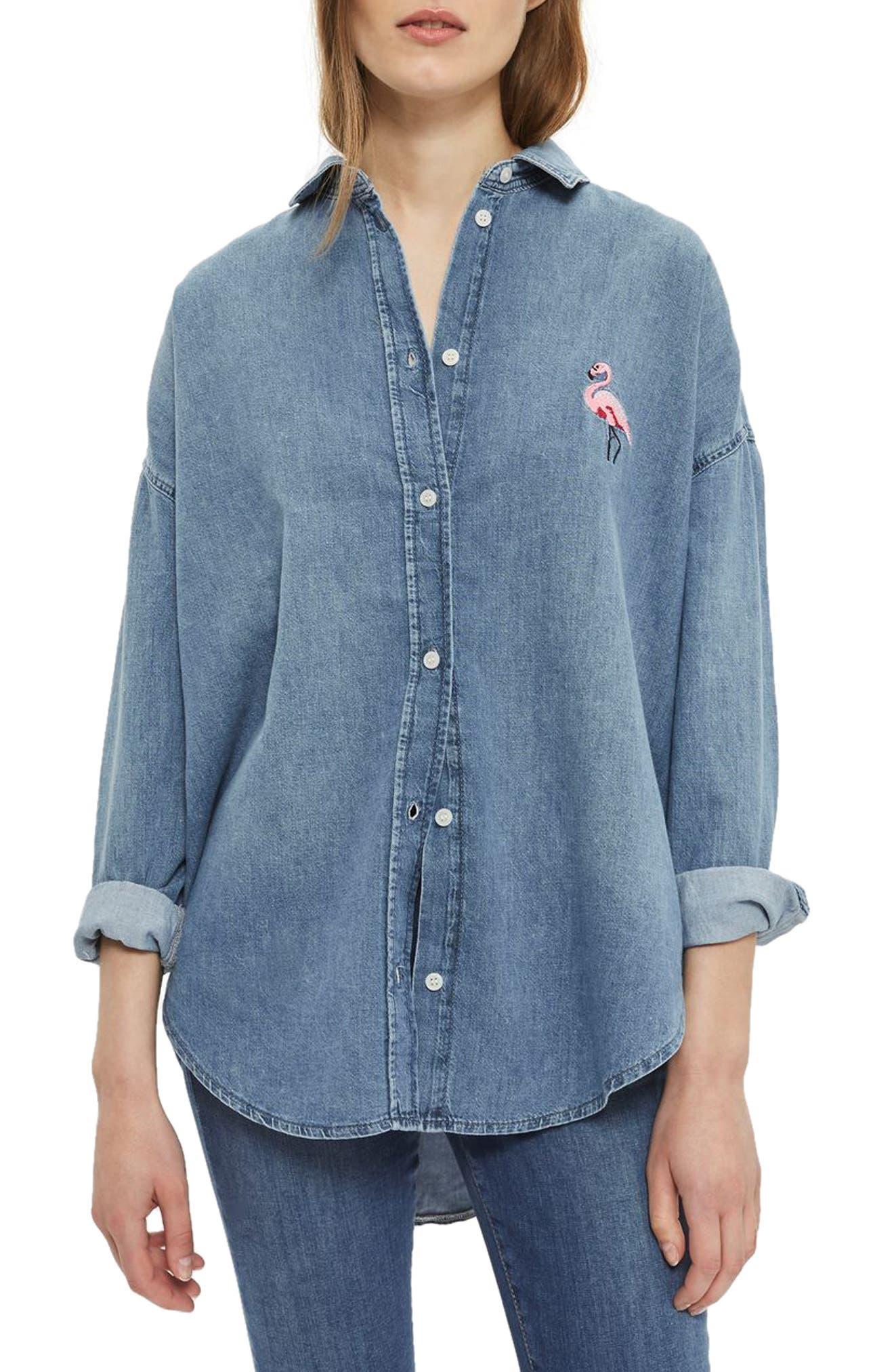 TOPSHOP Flamingo Denim Shirt
