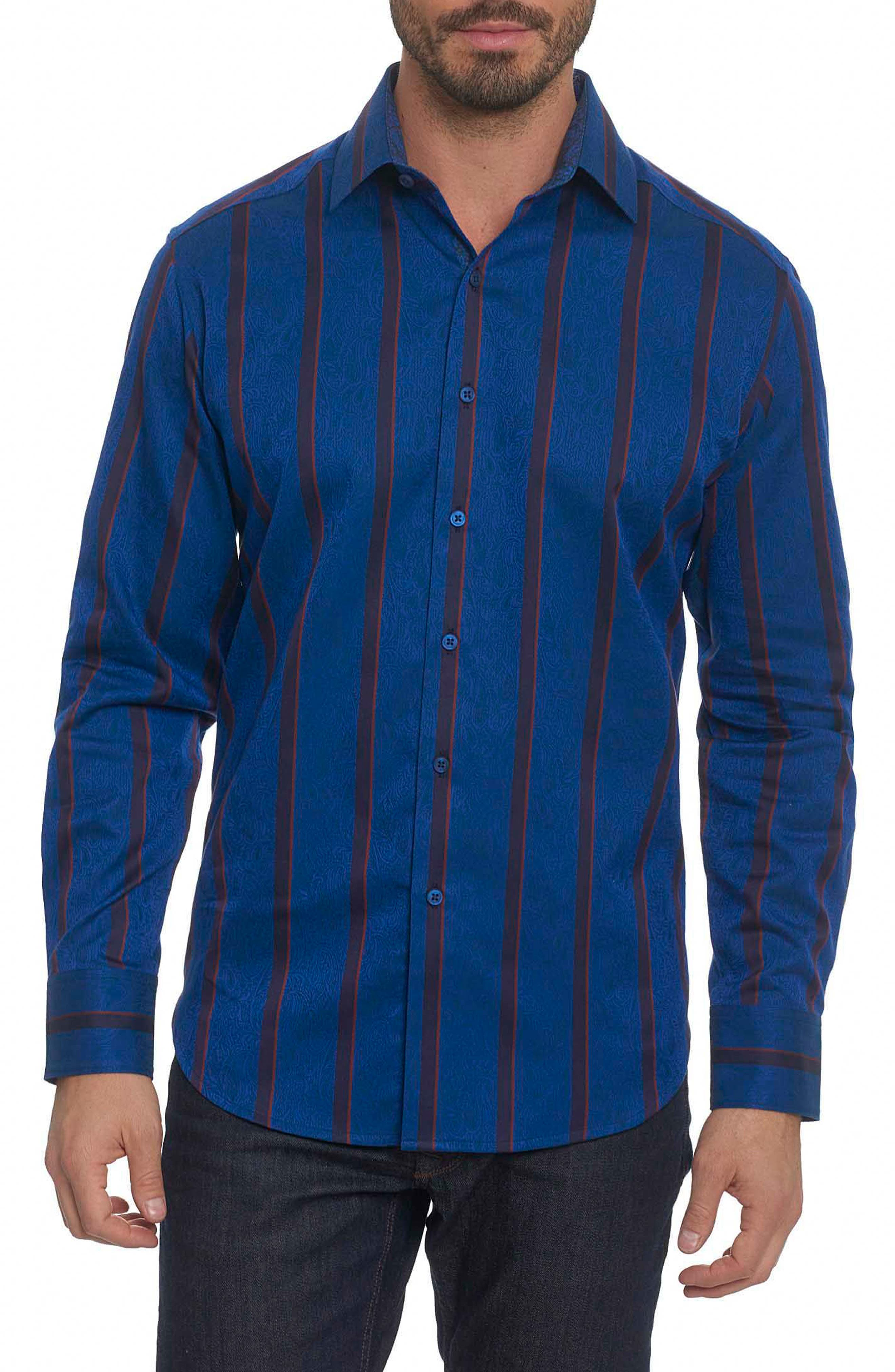 ROBERT GRAHAM Granby Classic Fit Stripe Paisley Sport Shirt