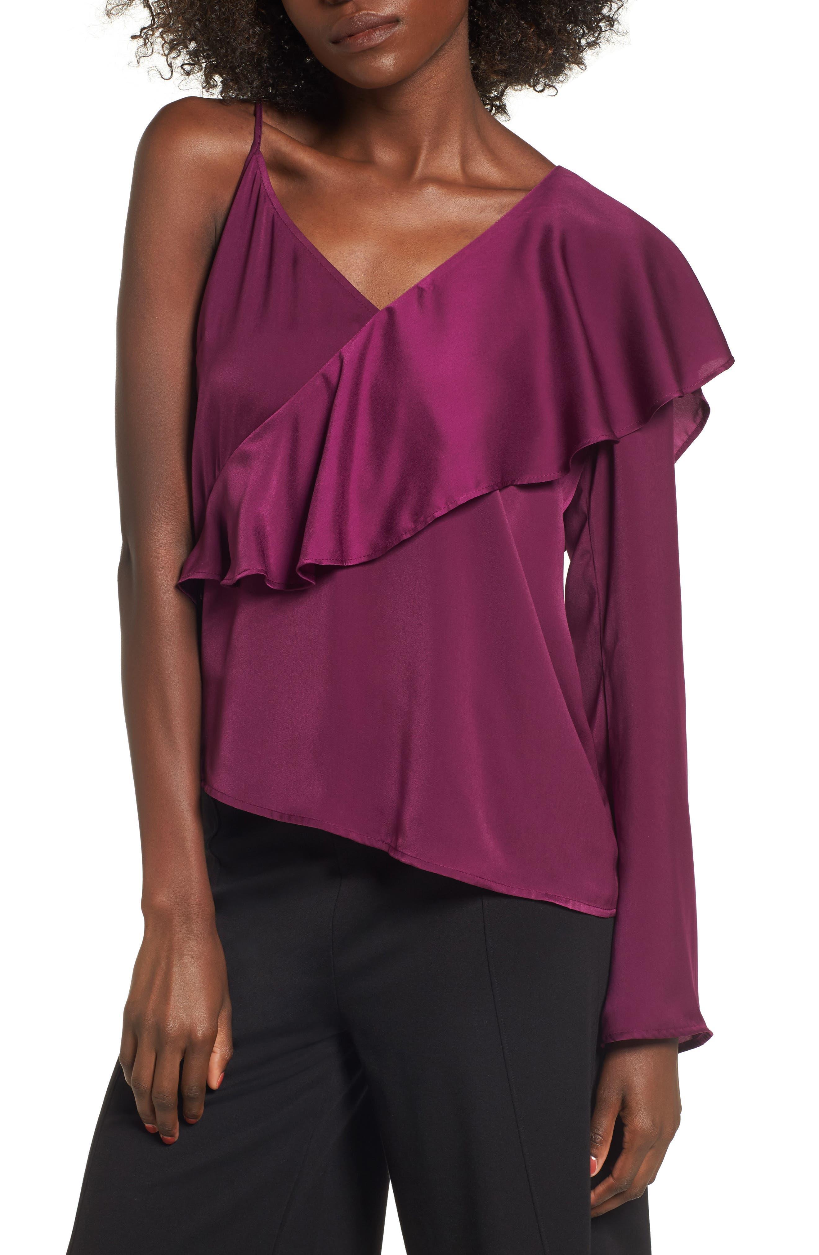 Asymmetrical Ruffle Top,                         Main,                         color, Purple Dark