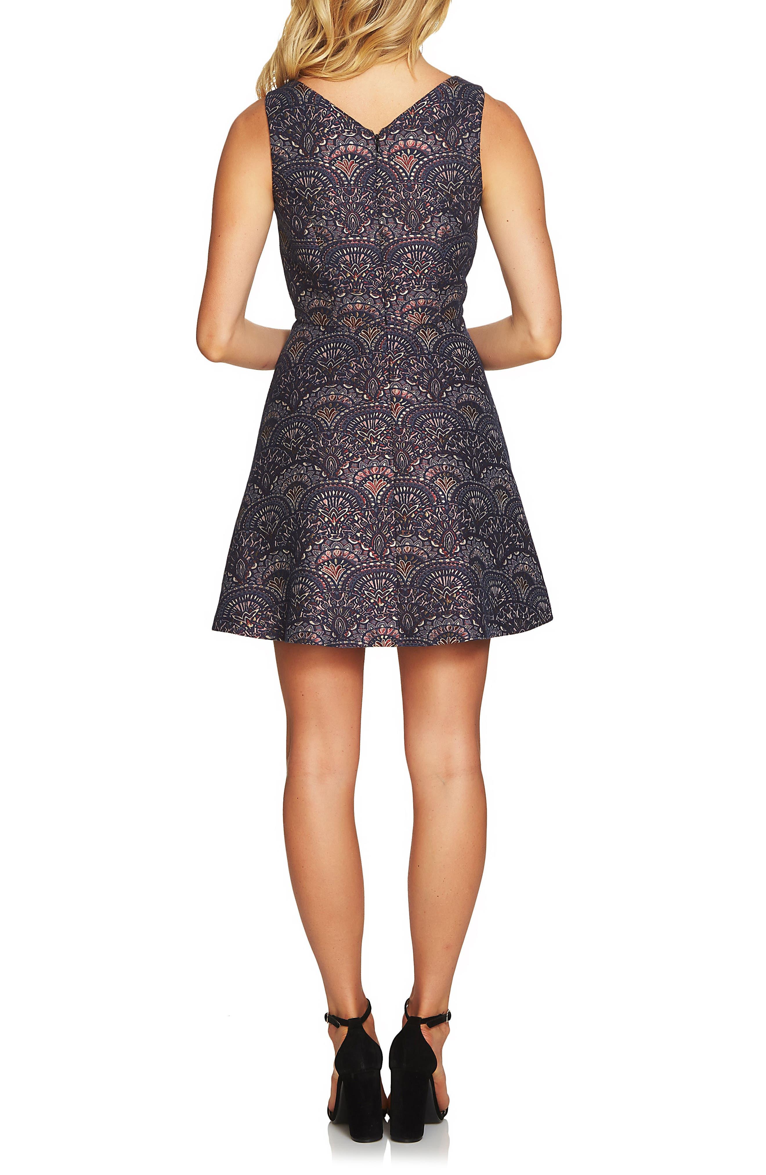 Lisa Jacquard Fit & Flare Dress,                             Alternate thumbnail 2, color,                             Hale Navy