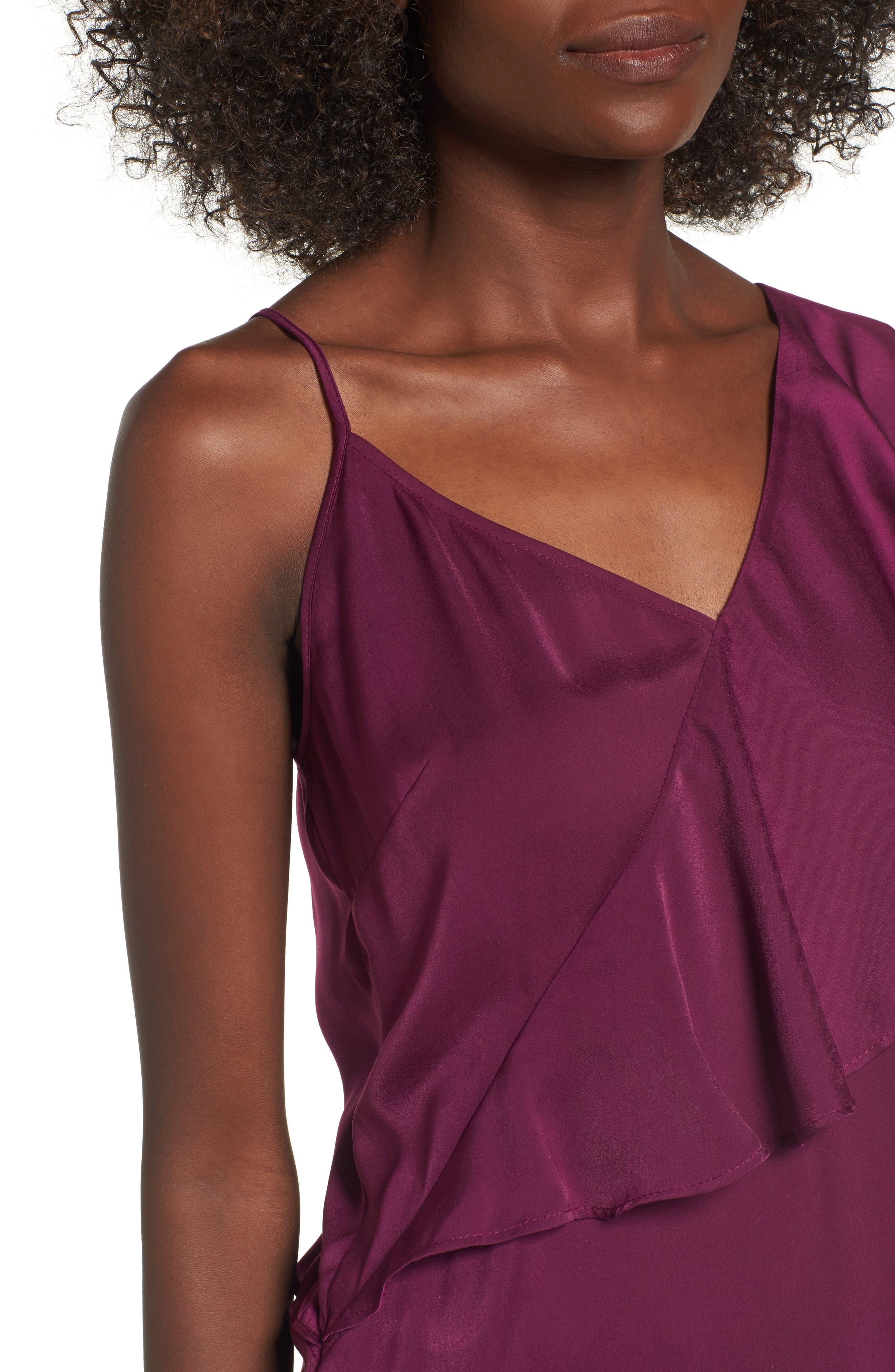 Asymmetrical Ruffle Top,                             Alternate thumbnail 4, color,                             Purple Dark