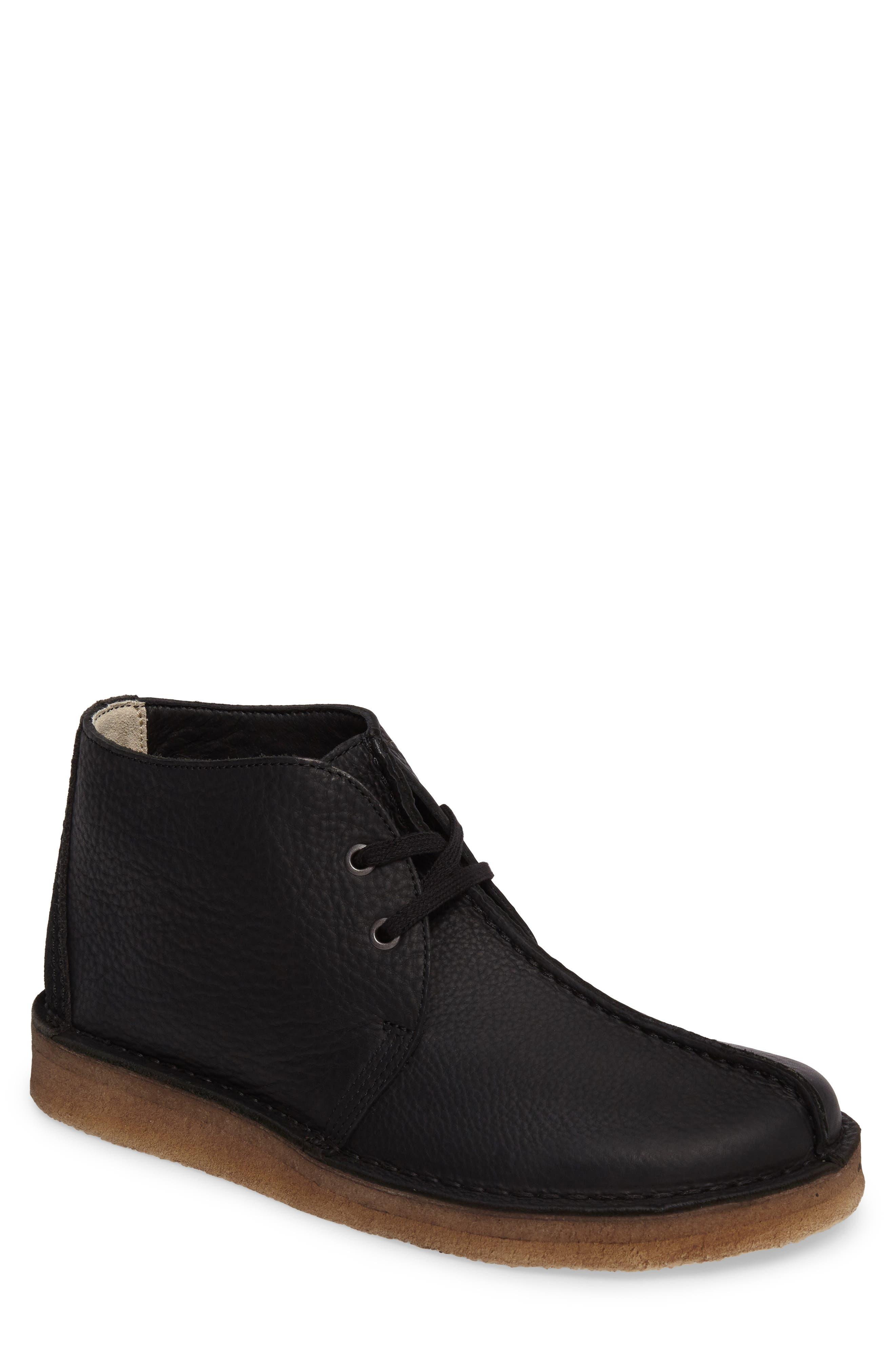 Clarks Desert Trek Leather Boot,                             Main thumbnail 1, color,                             Black Leather