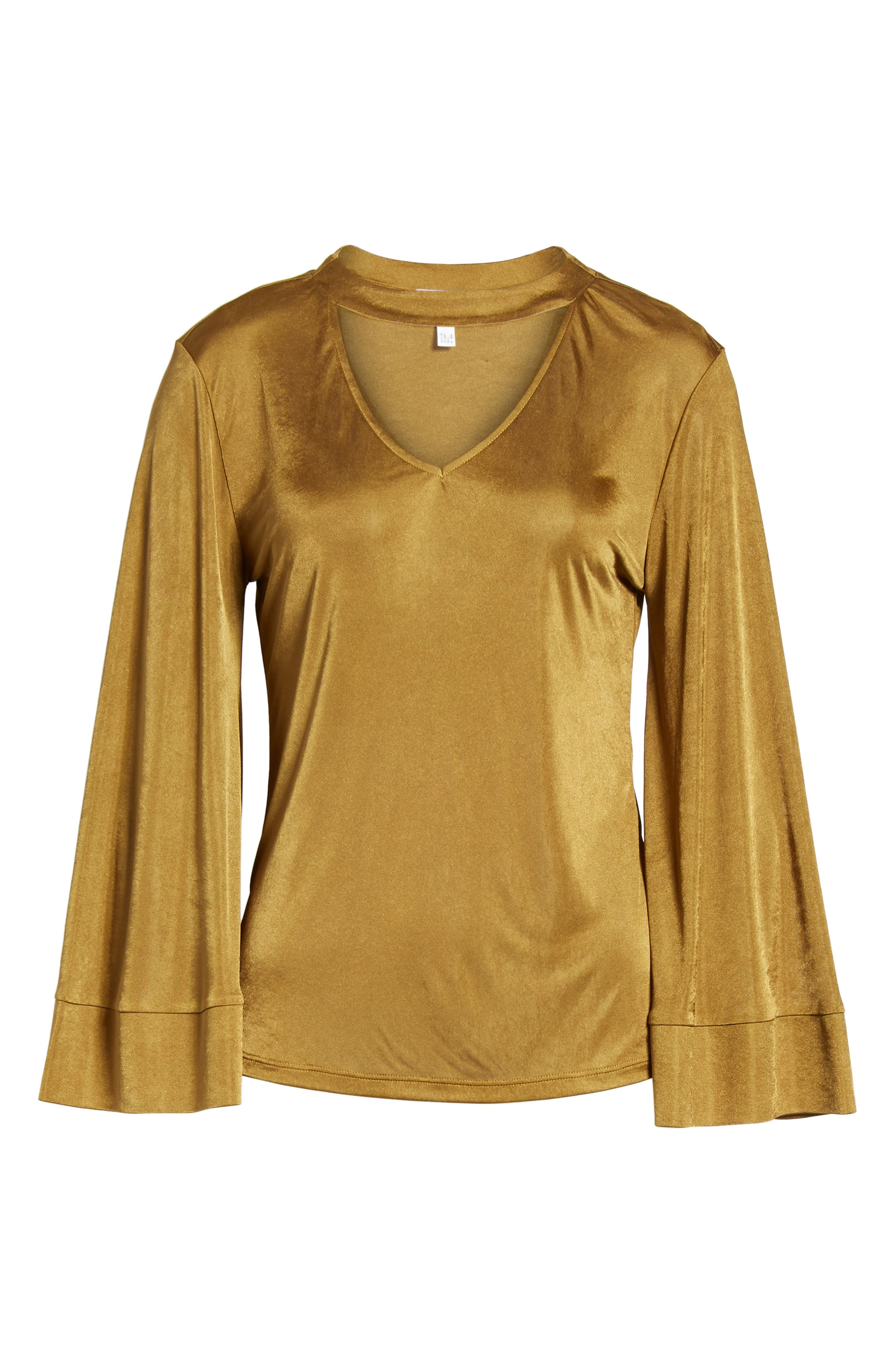 Choker Bell Sleeve Top,                             Alternate thumbnail 6, color,                             Olive Palm