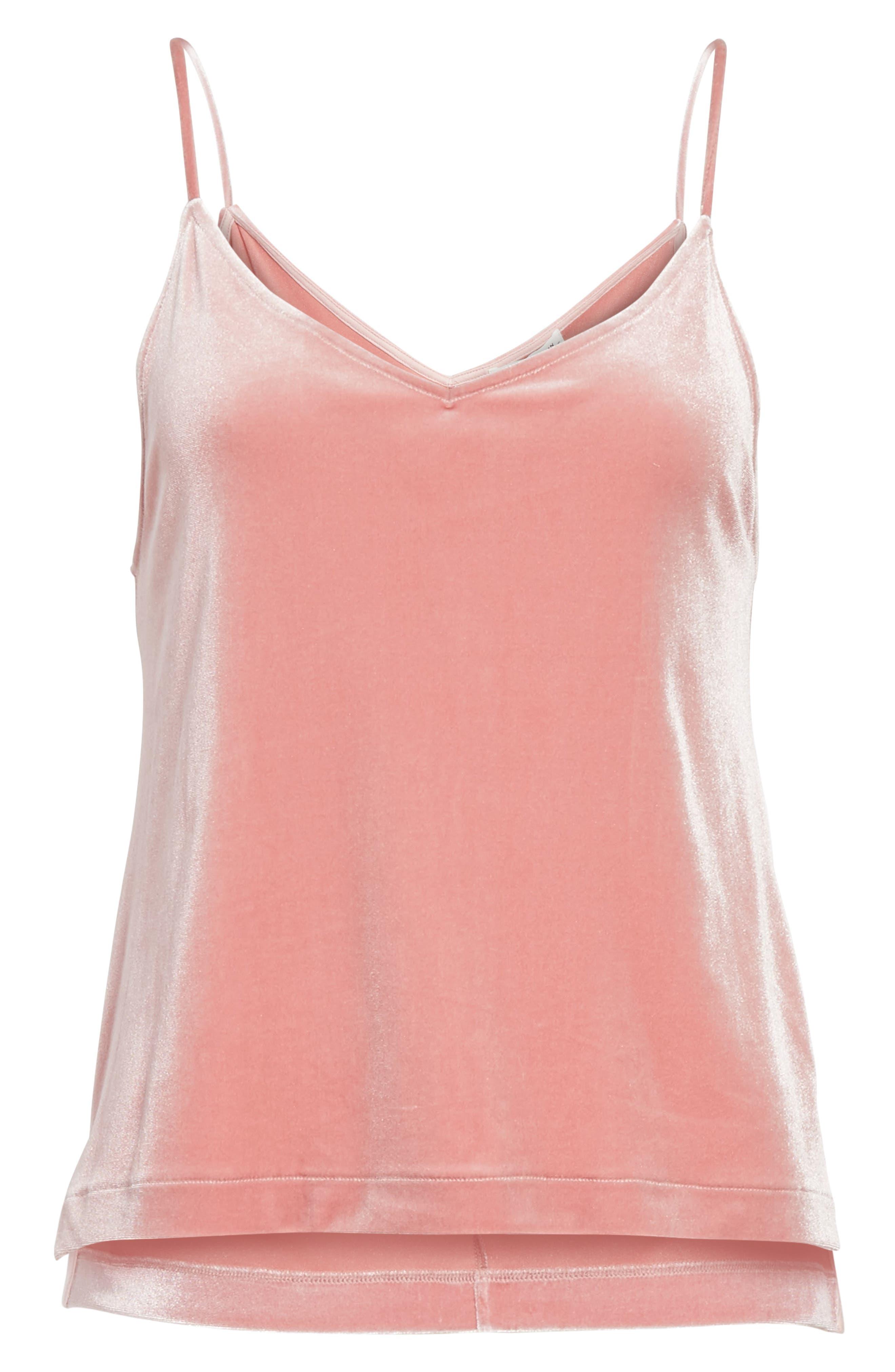 Amber Velvet Camisole,                             Alternate thumbnail 6, color,                             Deep Pink