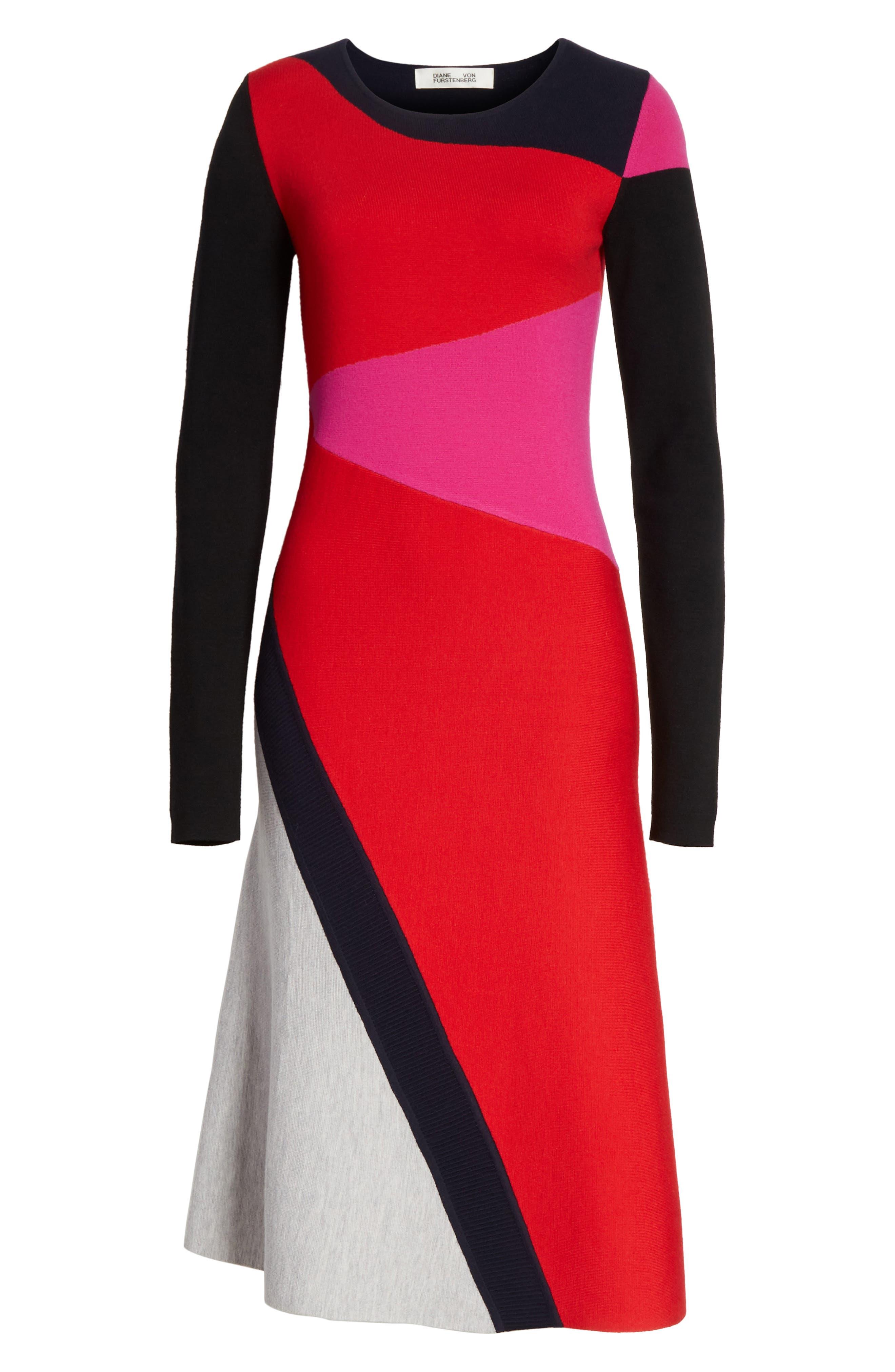 Colorblock Intarsia Dress,                             Alternate thumbnail 5, color,                             Lipstick Multi