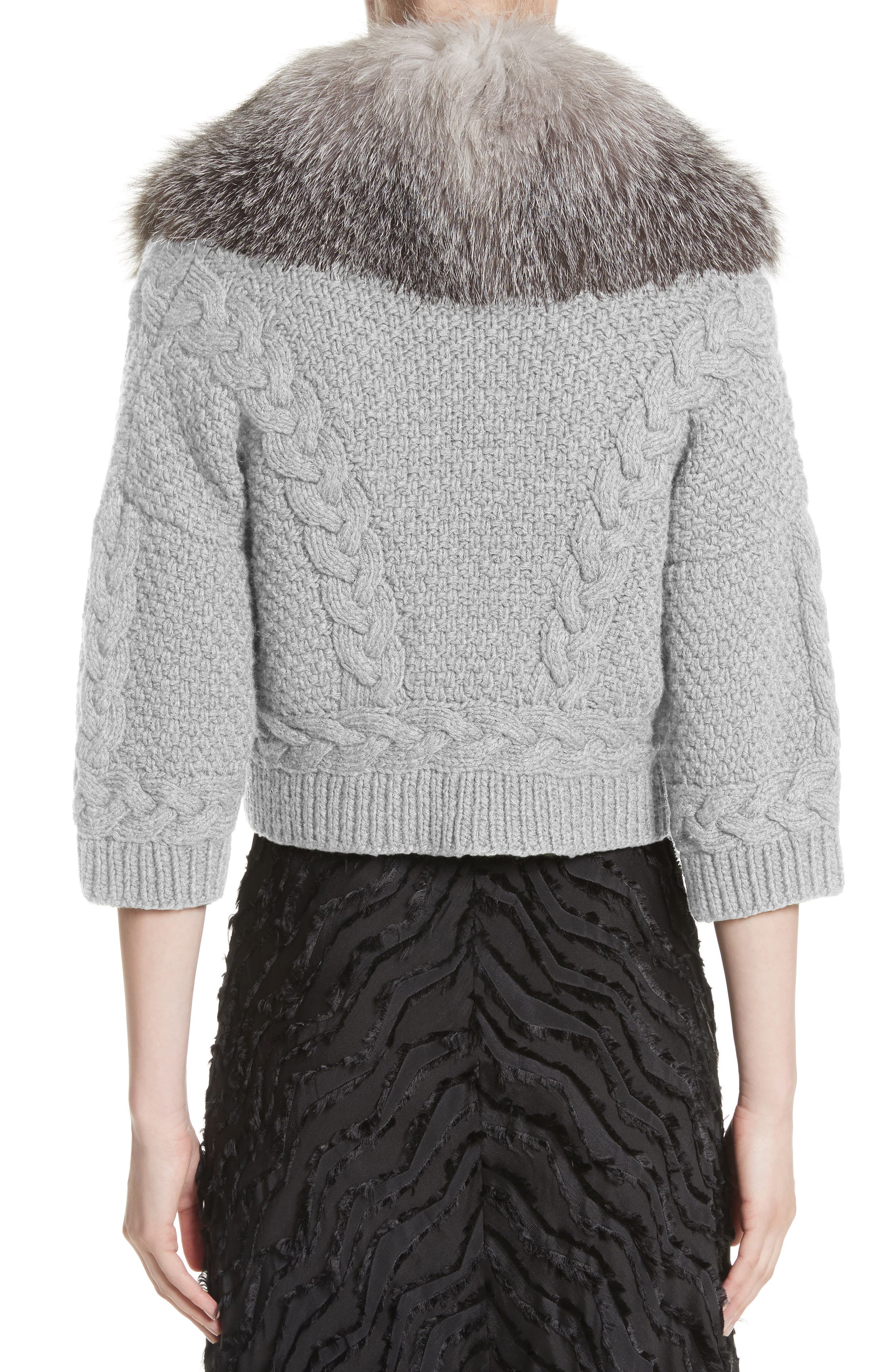 Alternate Image 2  - Yigal Azrouël Merino Wool & Cashmere Knit Bolero with Removable Genuine Fox Fur Collar