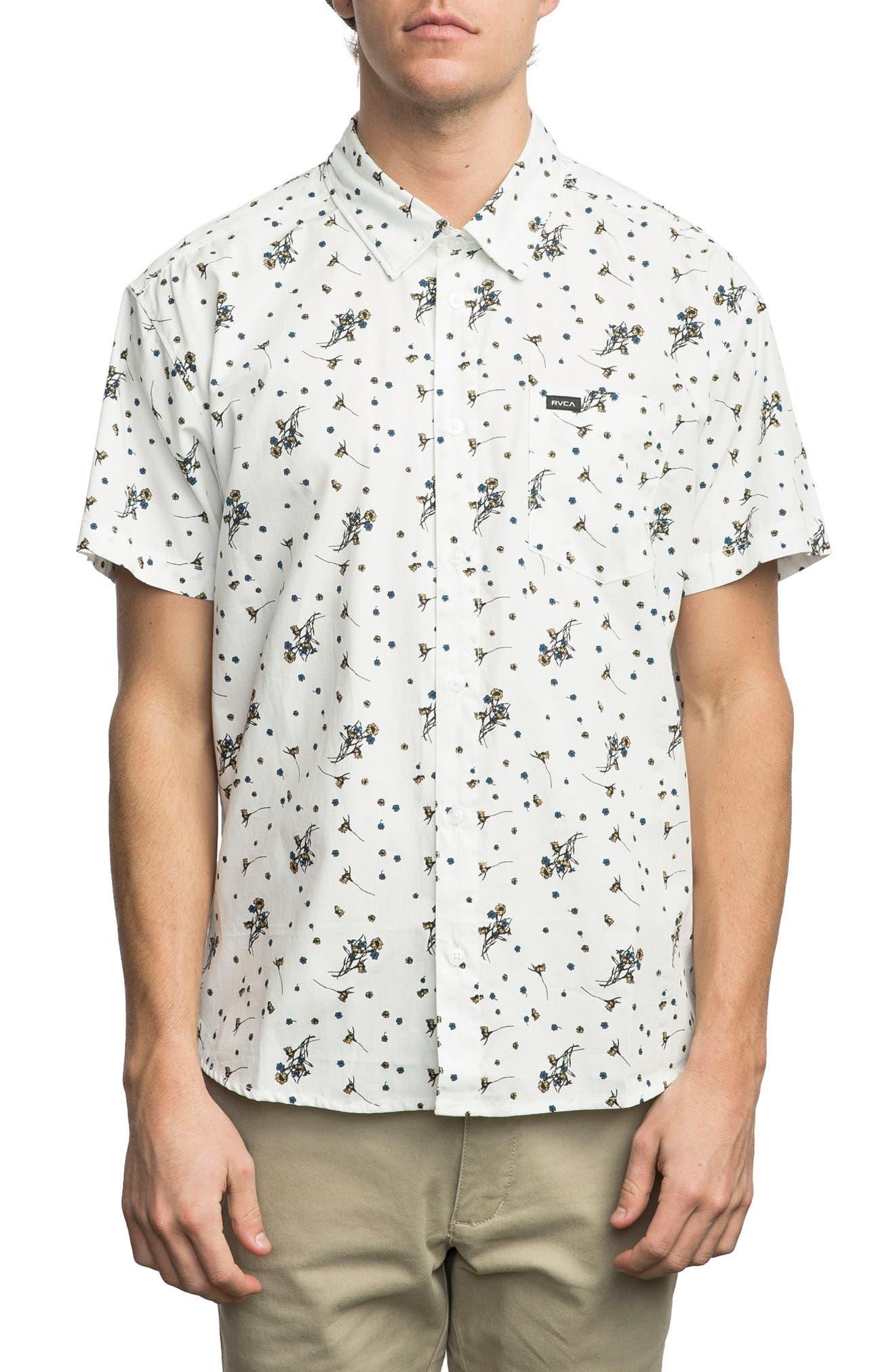 Print Woven Shirt,                         Main,                         color, Antique White