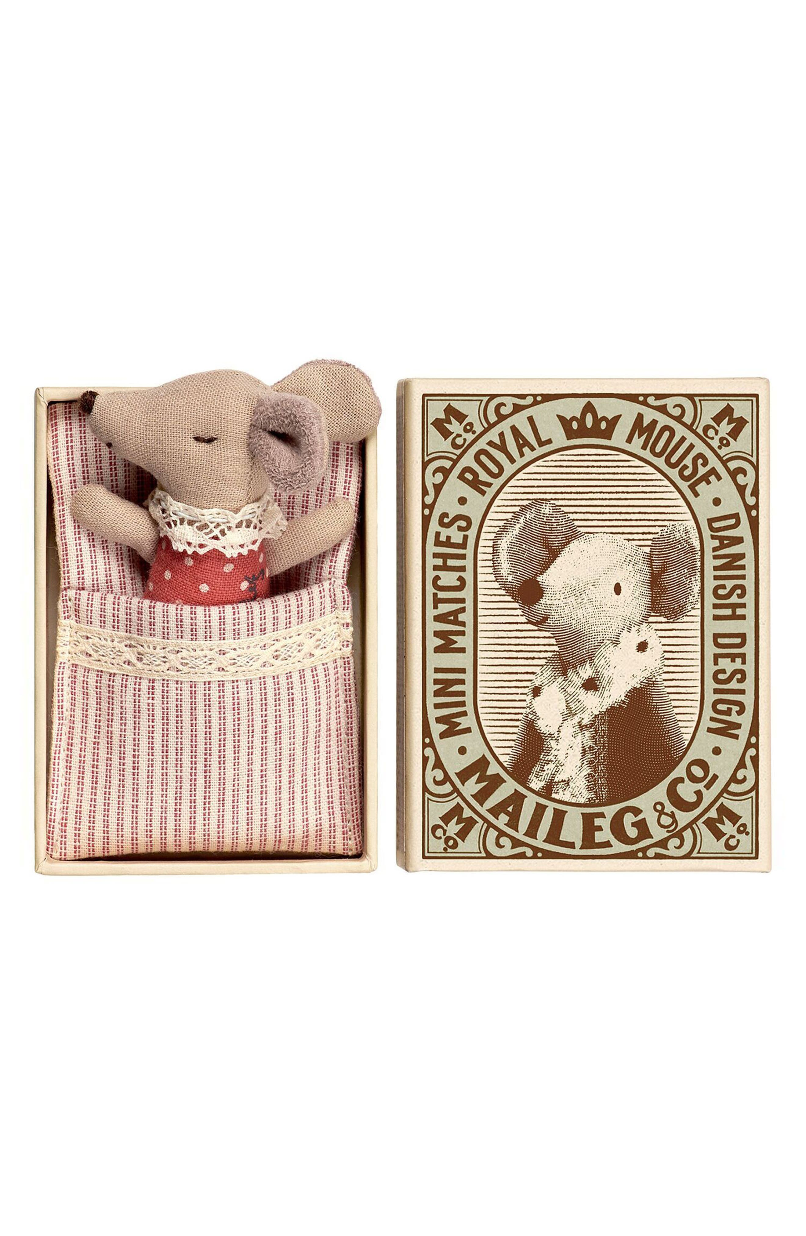 Main Image - Maileg Sleepy-Wakey Baby Girl Toy Mouse in a Box