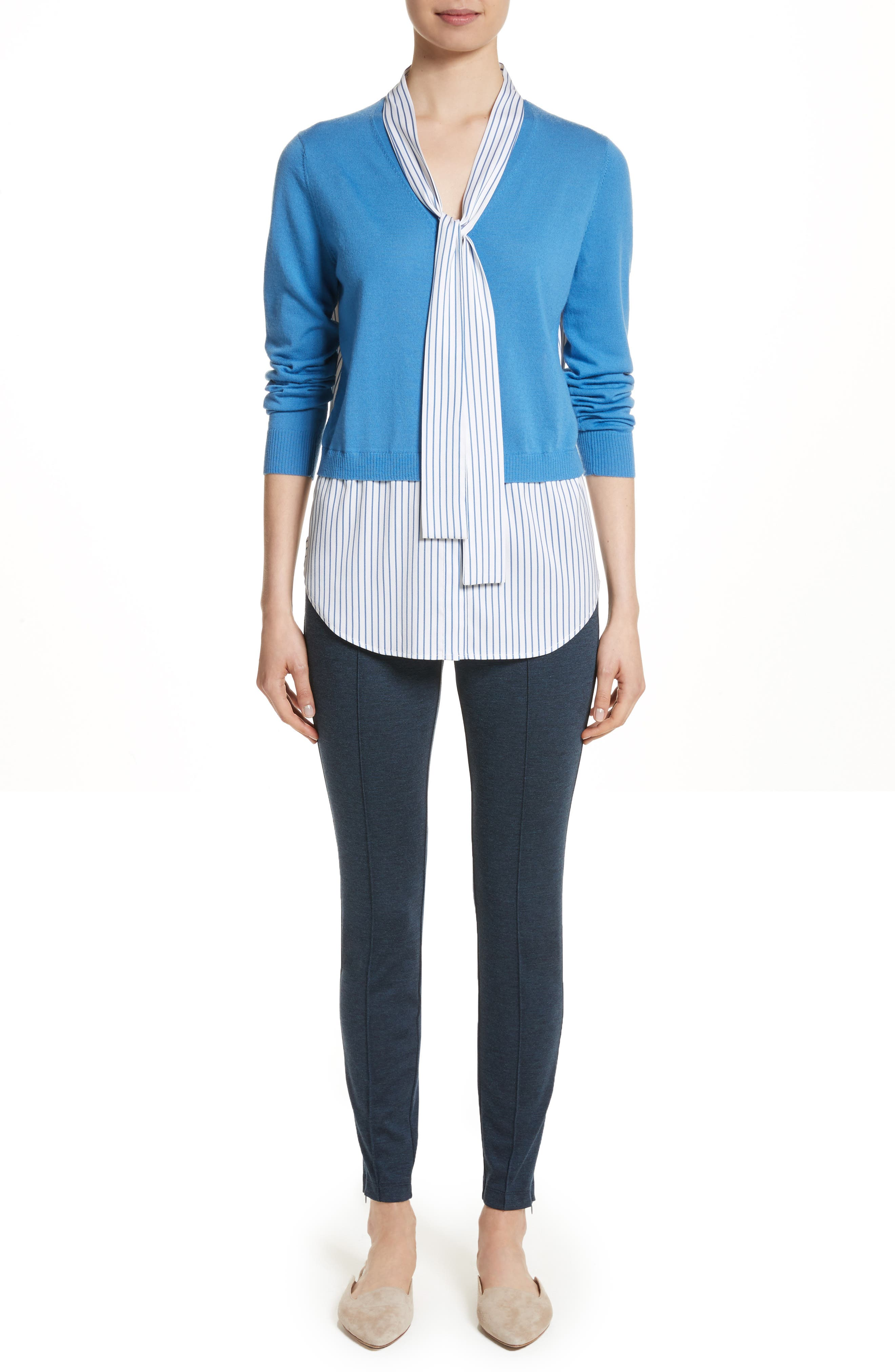 Layered Jersey Knit Cardigan,                             Alternate thumbnail 7, color,                             Niagara