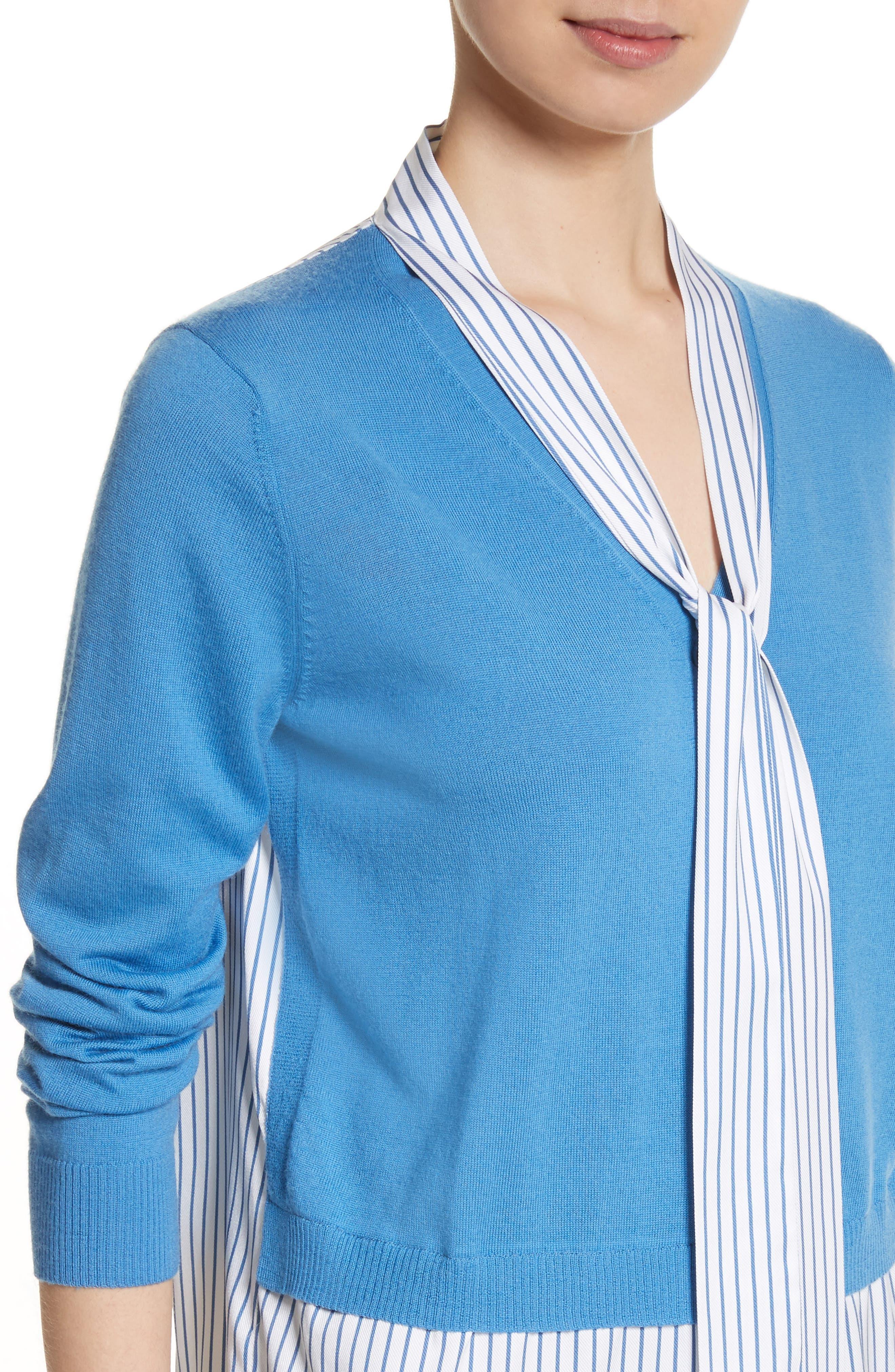 Layered Jersey Knit Cardigan,                             Alternate thumbnail 4, color,                             Niagara