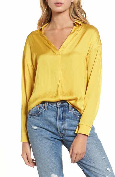 Lush Satin Henley - Yellow Tops For Women Nordstrom Nordstrom