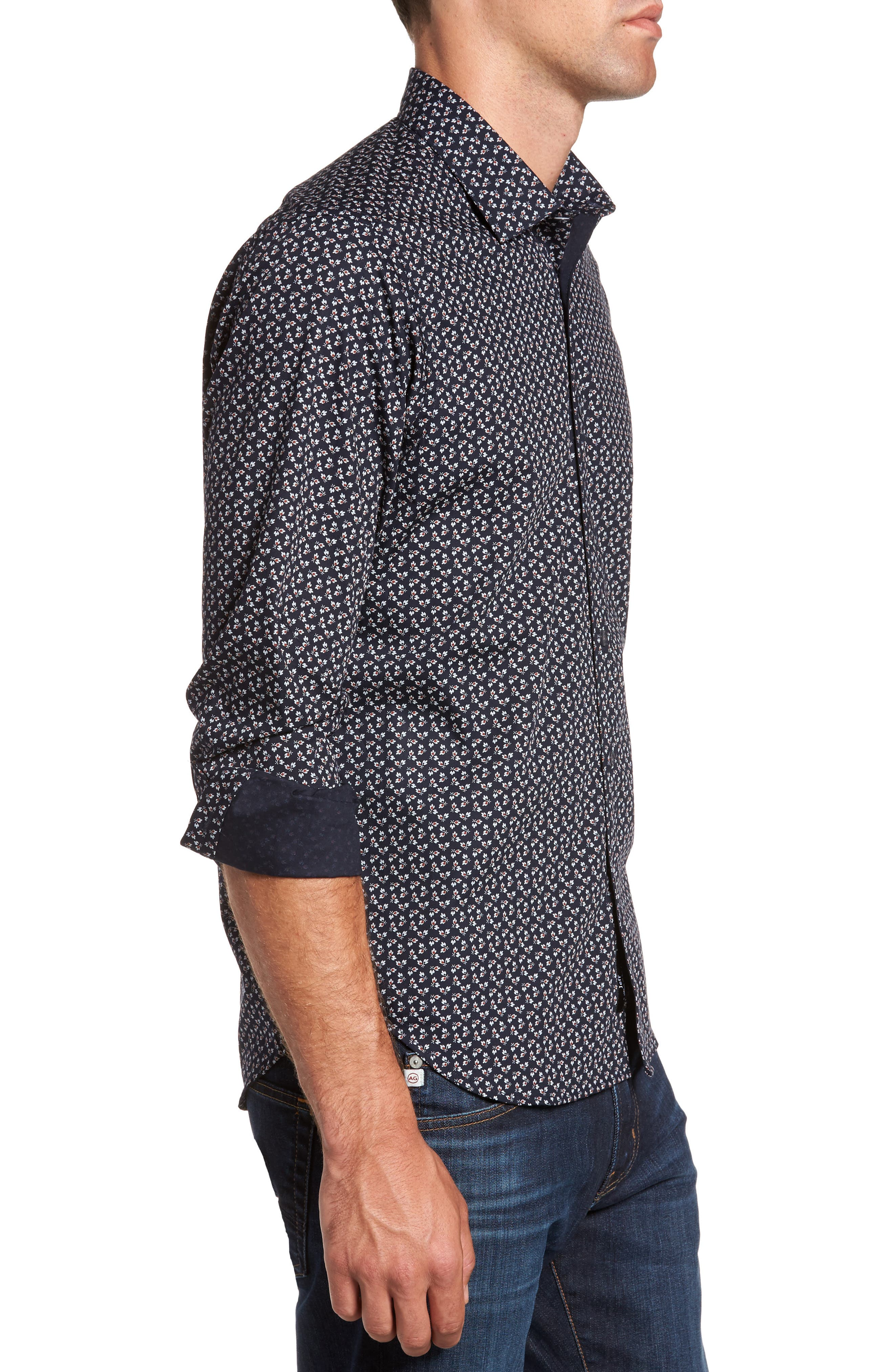 Alternate Image 3  - Jeff Slim Fit Floral Print Sport Shirt