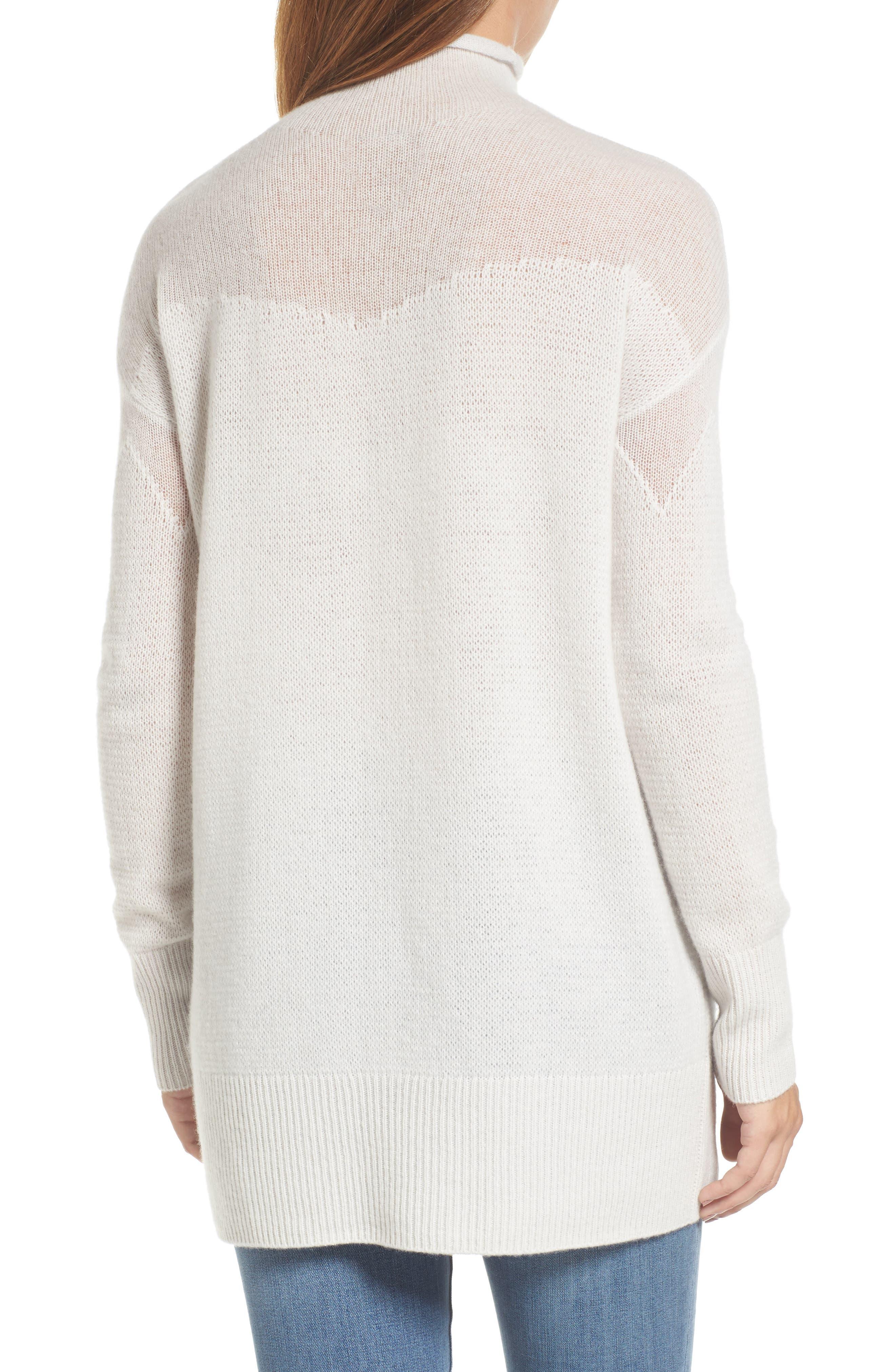 Alternate Image 2  - Halogen® Sheer Yoke Cashmere Sweater (Regular & Petite)