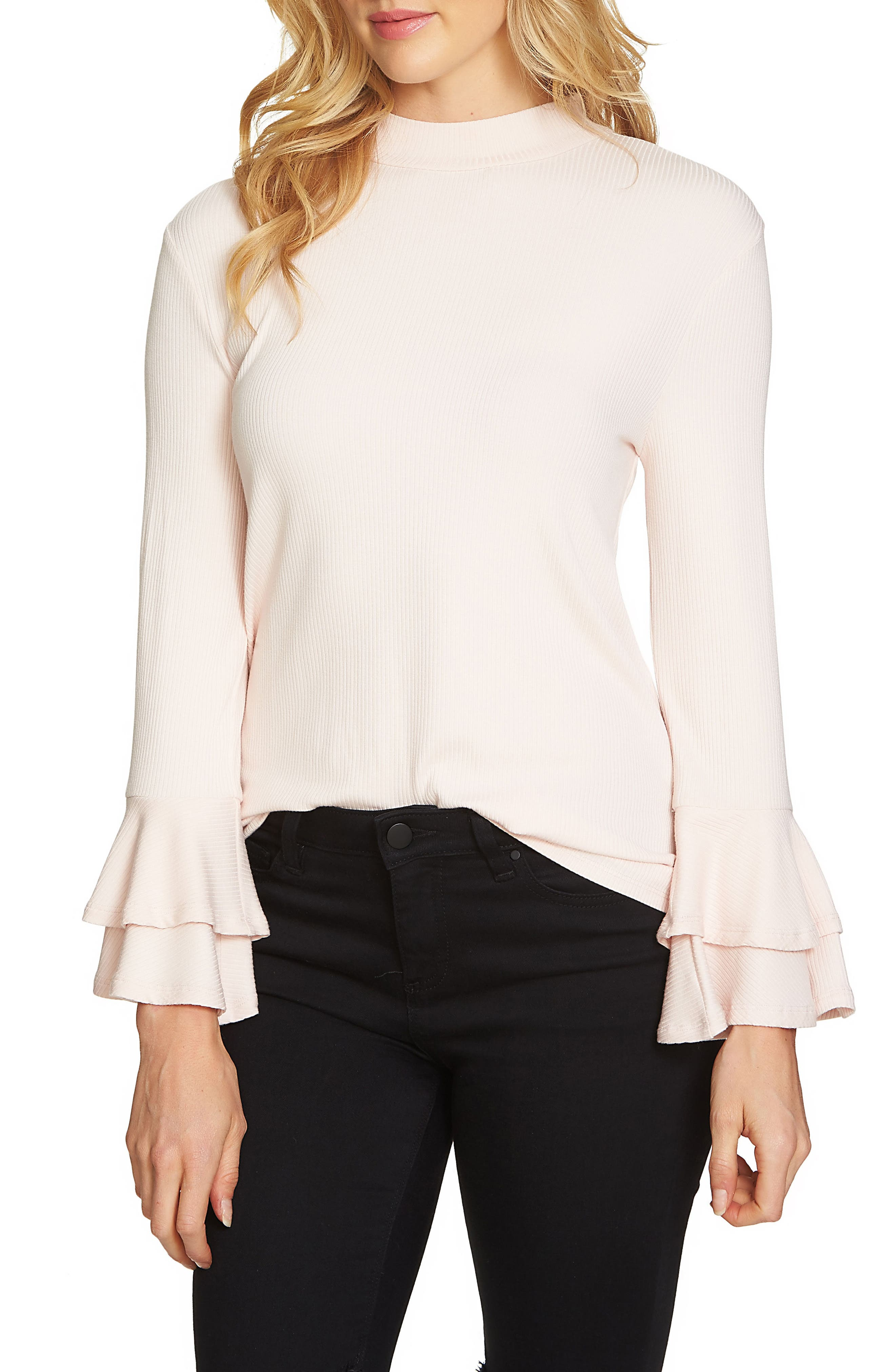 Bell Sleeve Top,                         Main,                         color, Pink Opal