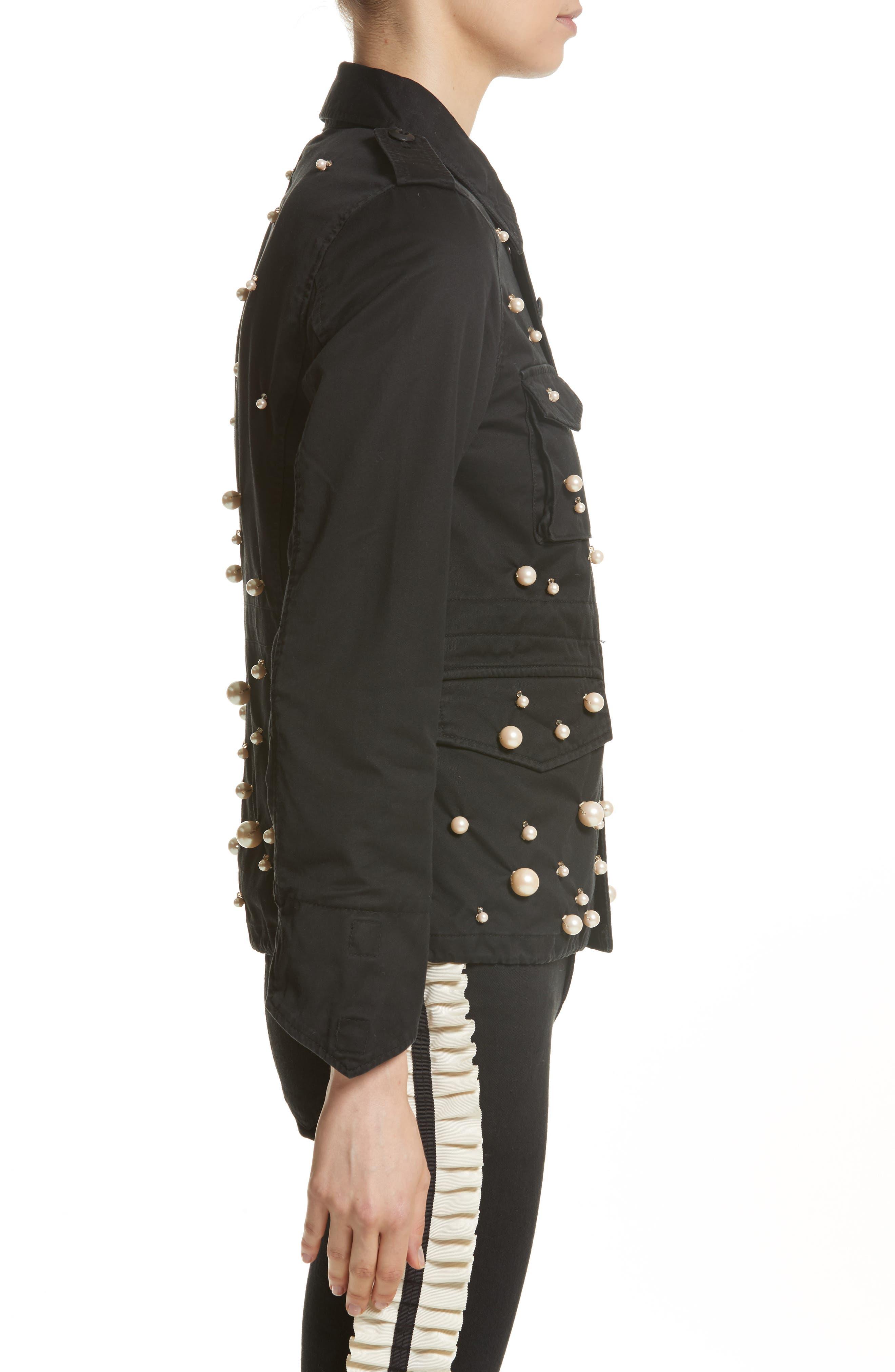 Snow Imitation Pearl Embellished Field Jacket,                             Alternate thumbnail 3, color,                             Black