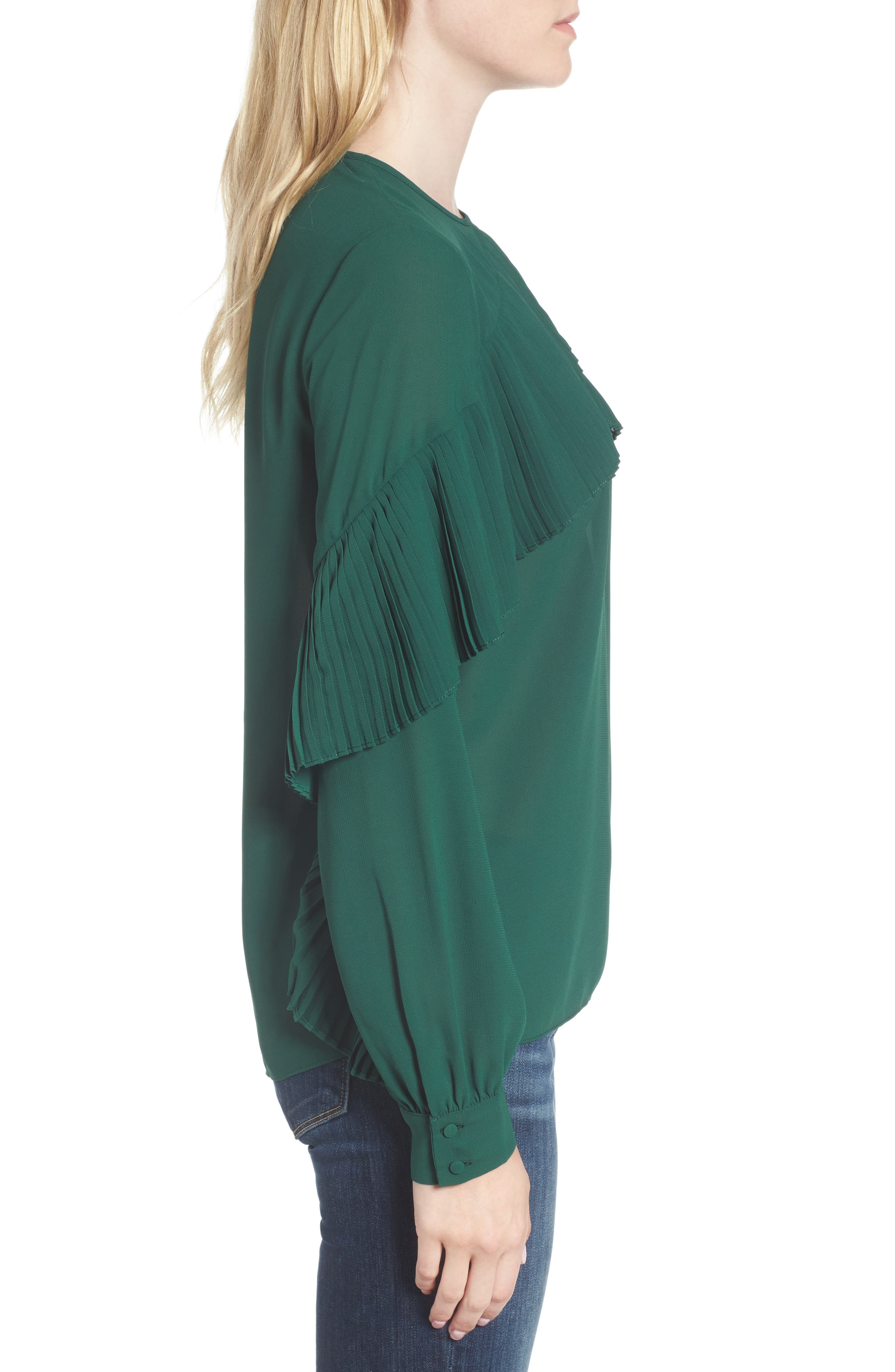Pleated Ruffle Top,                             Alternate thumbnail 3, color,                             Green Evergreen