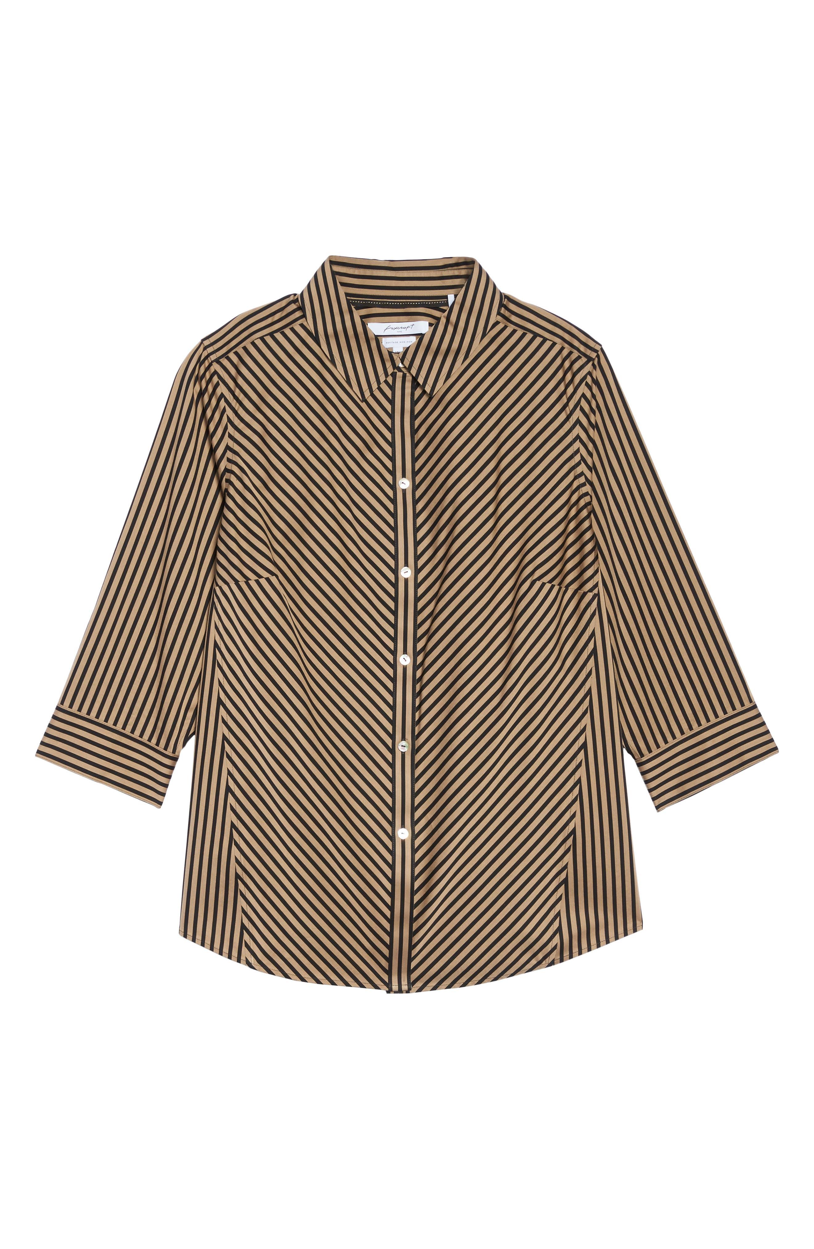 Alternate Image 6  - Foxcroft Fallon Satin Stripe Cotton Shirt (Plus Size)